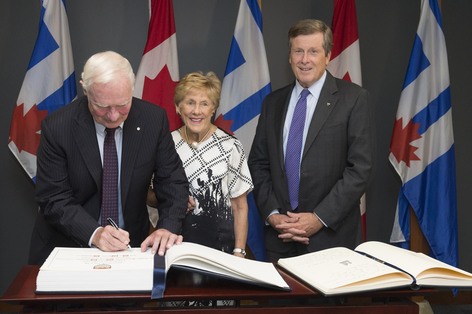 Their Excellencies signed the city of Toronto's guest book.