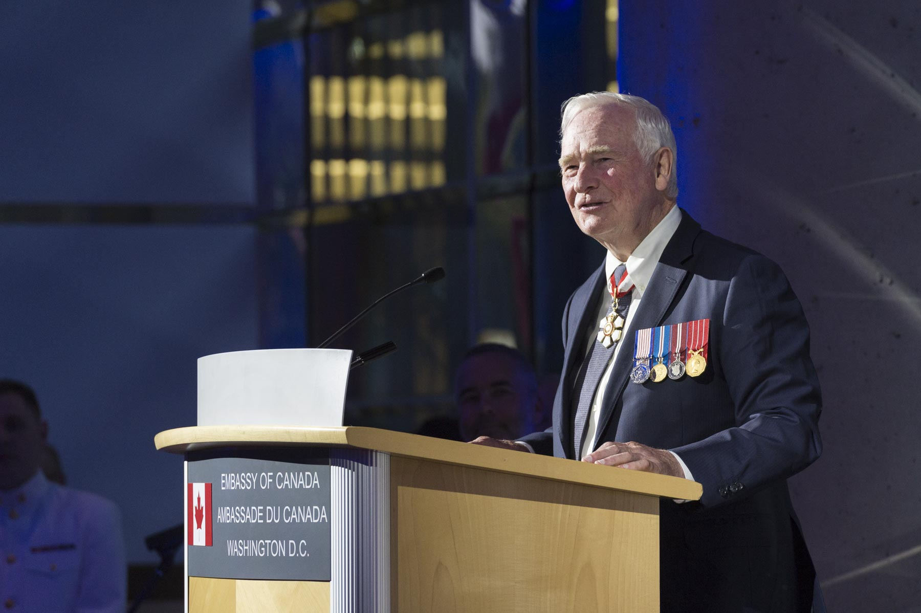 """Our two countries are indeed partners in defence,"" said the Governor General during the Partners in Defence Reception. ""This is my seventh visit to the United States as governor general and commander-in-chief of Canada, and during those trips, I've had the privilege of witnessing the close co-operation that exists between our respective armed forces on a number of occasions."""
