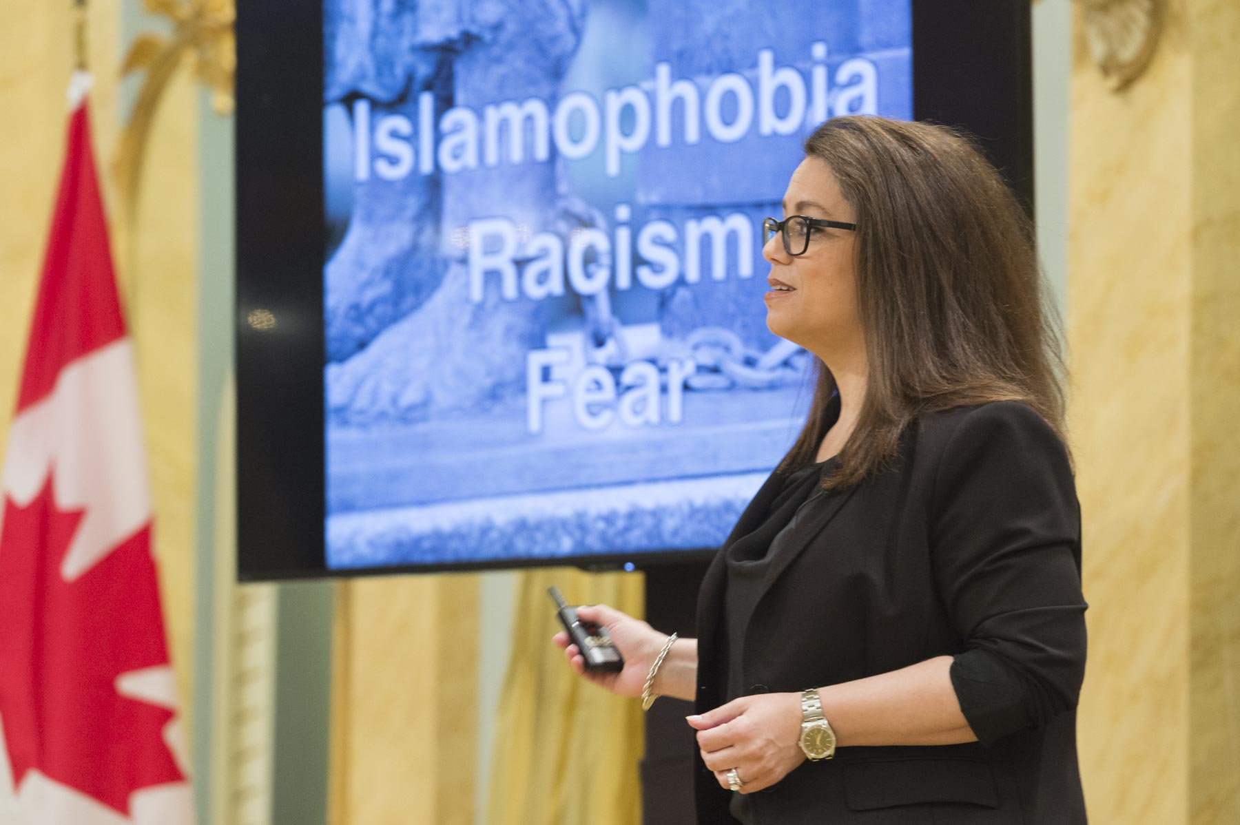 "Nadia Naffi, winner of the SSHRC's annual Storytellers competition, gave a talk entitled ""How Canadian Youth Construe Their Role in the Integration and Inclusion of Syrian Refugees."""