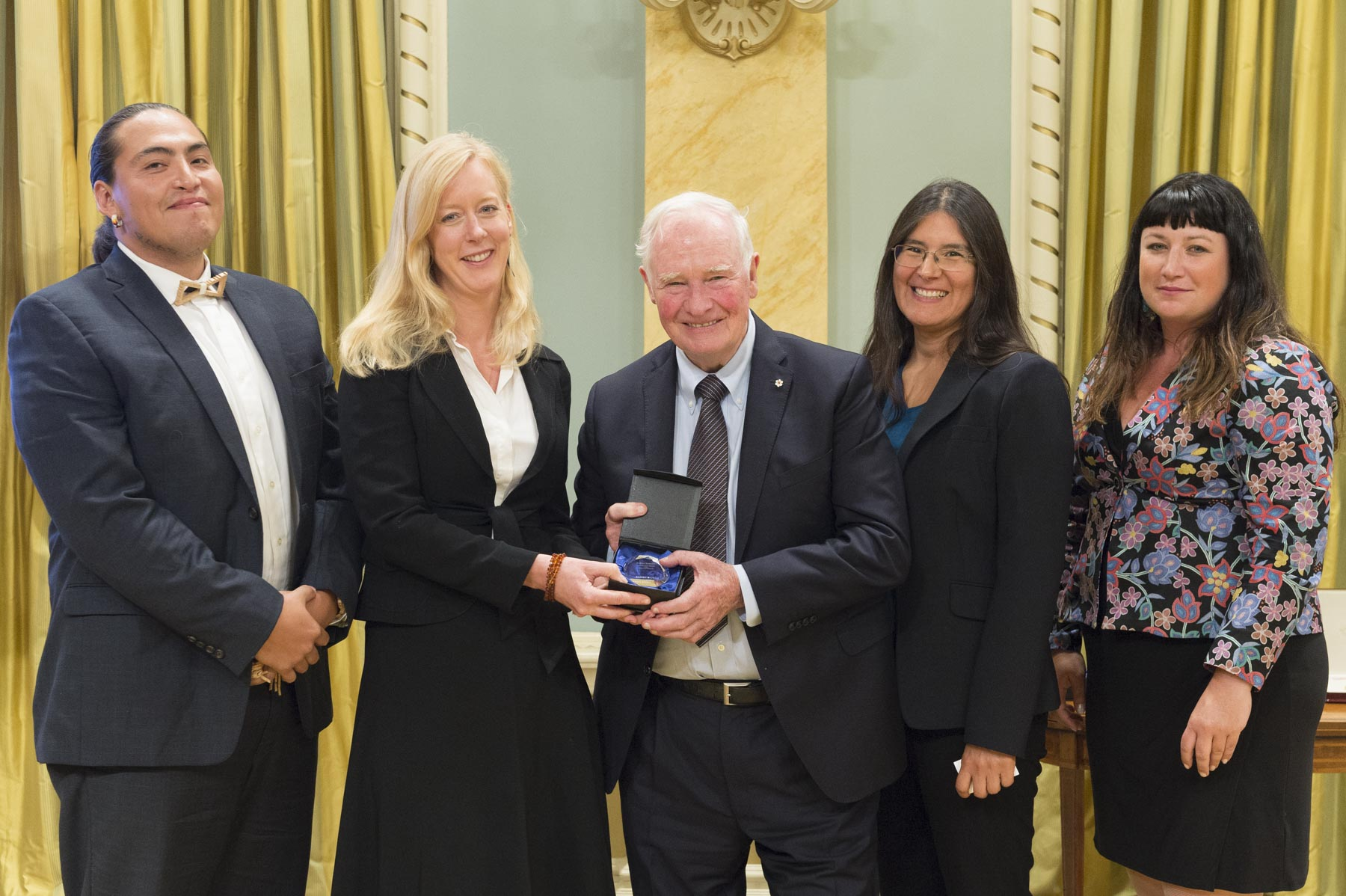 Karen Bakker (2nd from left) received the Connection Award. She accepted her award with members of her research team. Ms.  Bakker leads an interdisciplinary team of academic researchers and community-based organizations participating in the Sustainable Water Governance and Indigenous Law project.