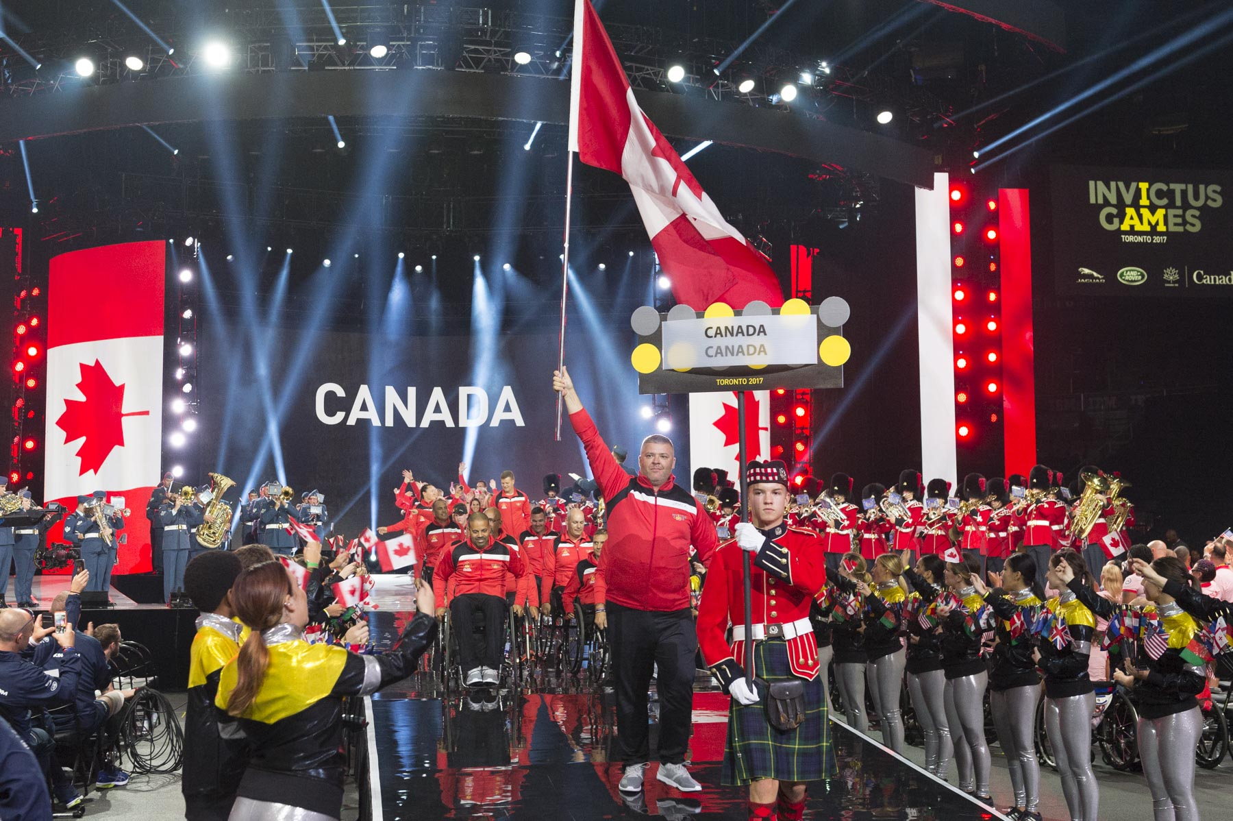 Canadian competitors were led by flag-bearer Corporal Phil Badania.