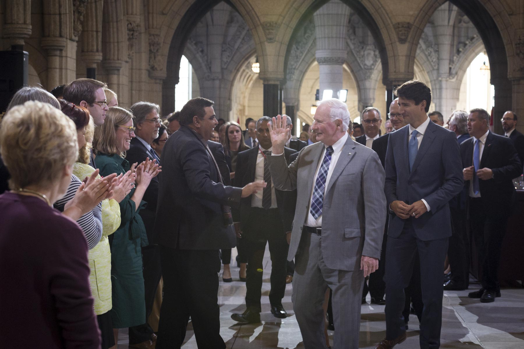Shortly after, Their Excellencies attended a farewell reception hosted by the Honourable George J. Furey, Speaker of the Senate, and the Honourable Geoff Regan, Speaker of the House of Commons.