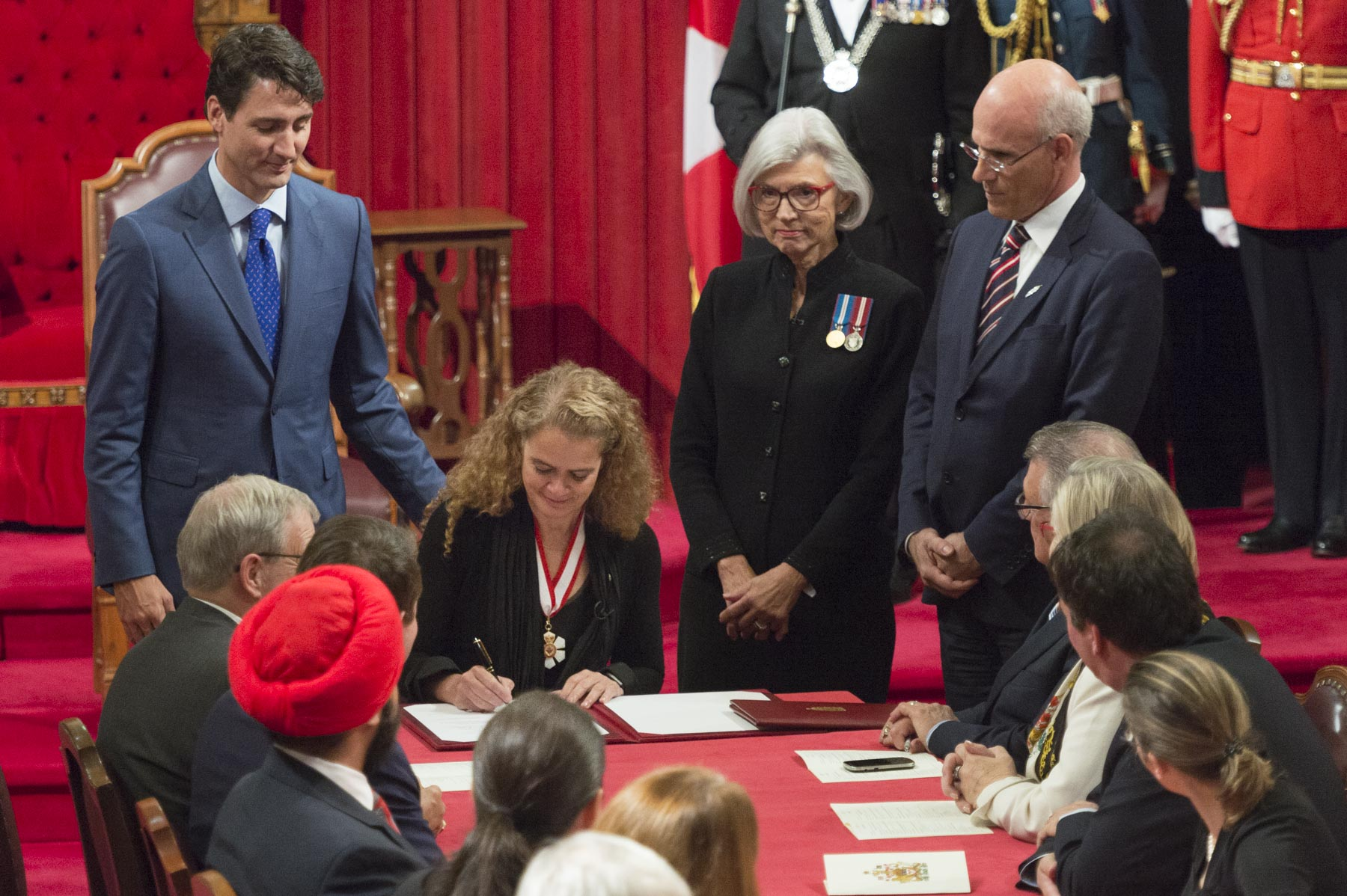 The Governor General designate Ms. Julie Payette signed the Oath Register.