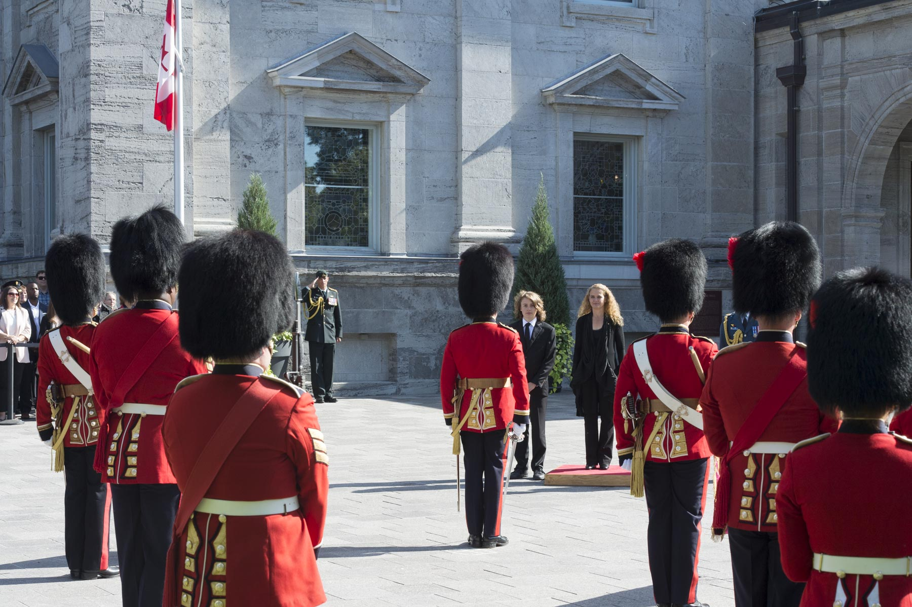 Upon her official arrival at Rideau Hall, the Governor General was greeted by a 100-person guard of honour.