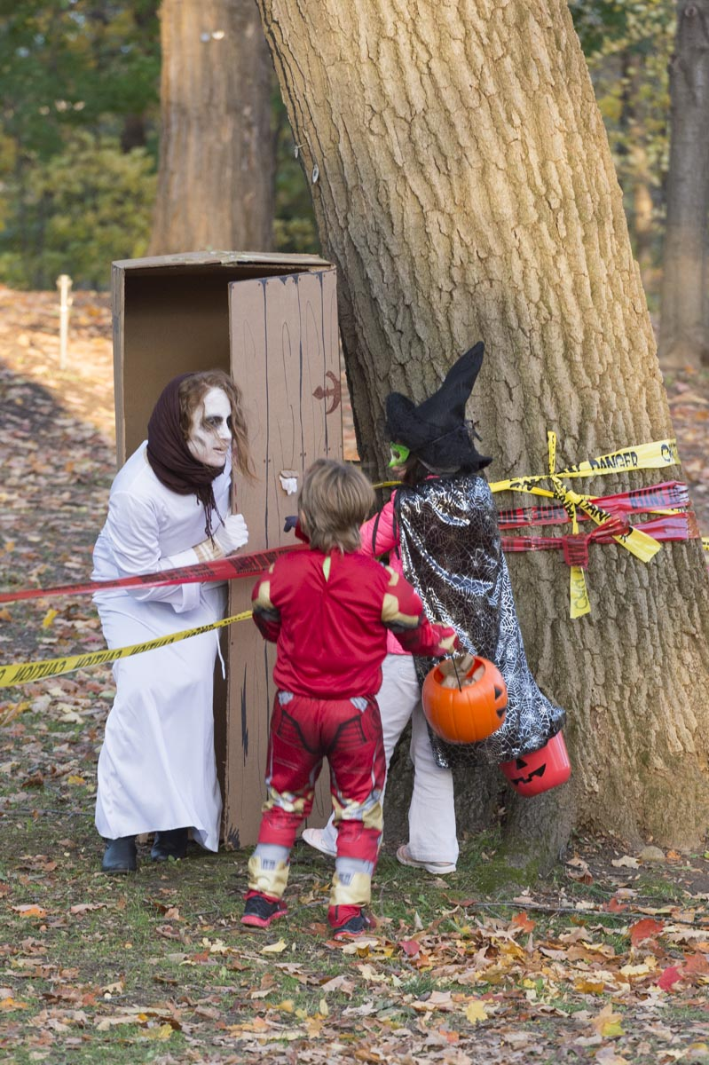 Trick-or-treaters encountered ghosts and other haunting characters.