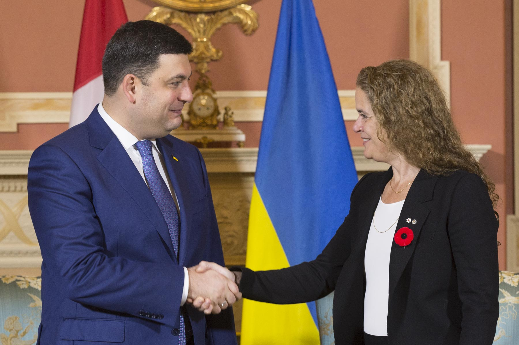 Her Excellency the Right Honourable Julie Payette, Governor General of Canada, met with His Excellency Volodymyr Groysman, Prime Minister of Ukraine, at Rideau Hall.