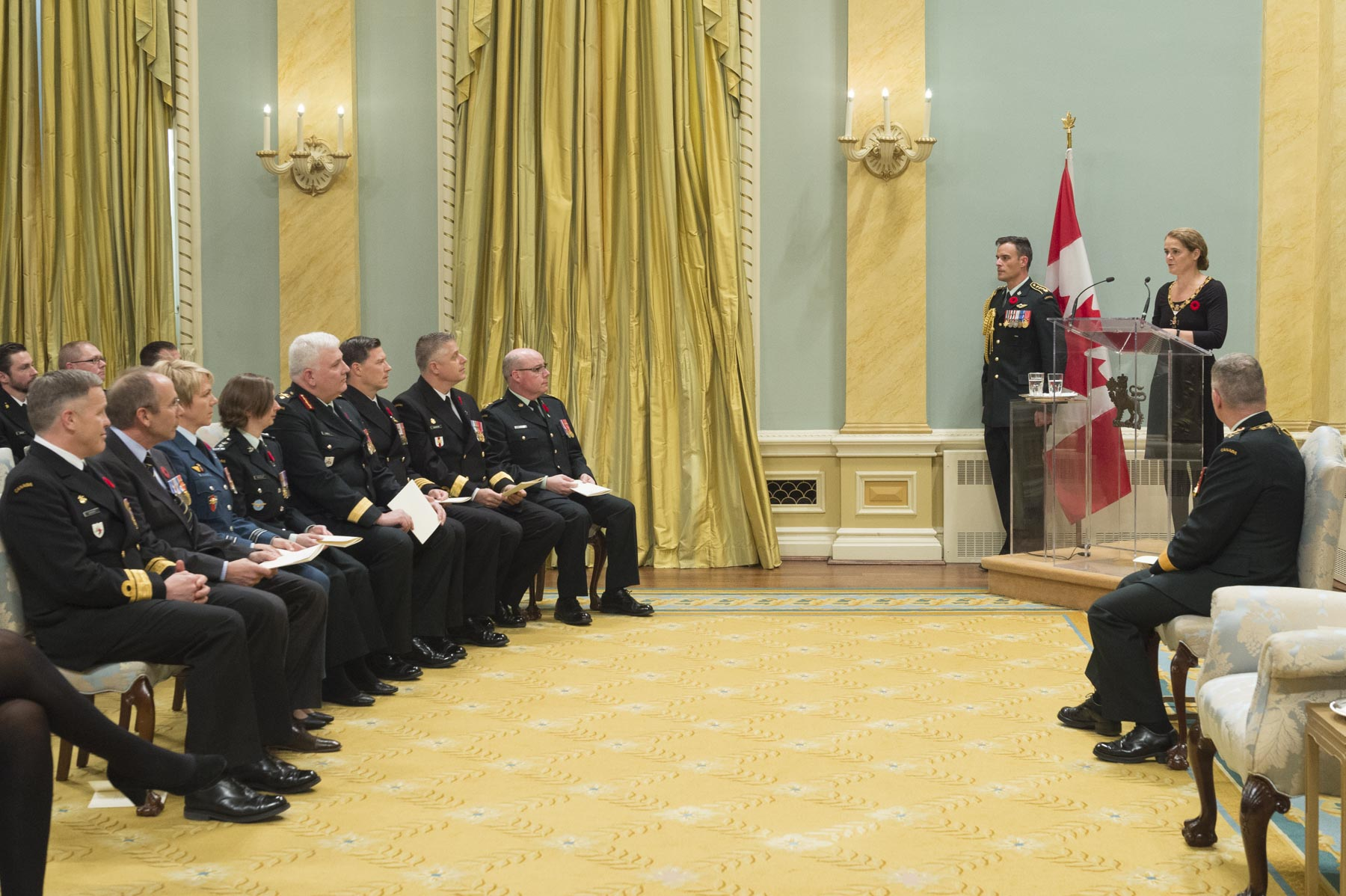 The Governor General and Commander-in-Chief of Canada, presided over an Order of Military Merit investiture ceremony at Rideau Hall, on November 10, 2017.