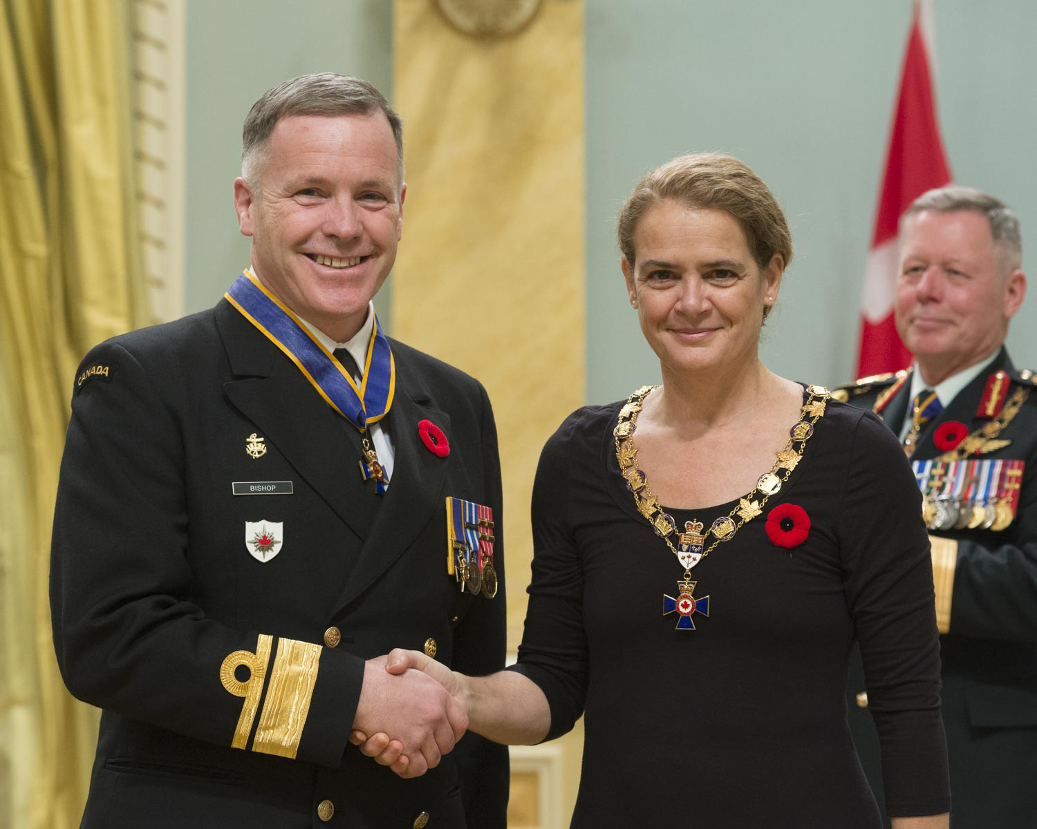 Her Excellency presented the Order of Military Merit at the Commander level (C.M.M.) to Rear-Admiral Scott Edward George Bishop, C.M.M., C.D., from the Canadian Forces Intelligence Command in