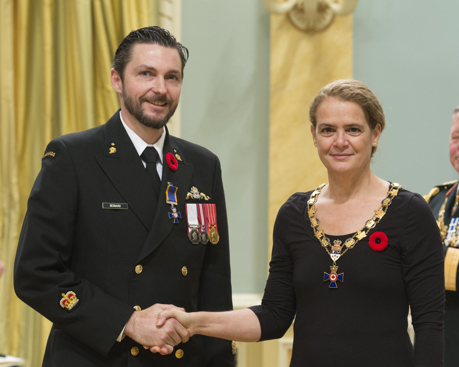 Her Excellency presented the Order of Military Merit at the Member level (M.M.M.) to Petty Officer 1st Class Yves Leonide Bernard, M.M.M., C.D., from the Fleet Diving Unit (Atlantic), in Halifax, Nova Scotia.