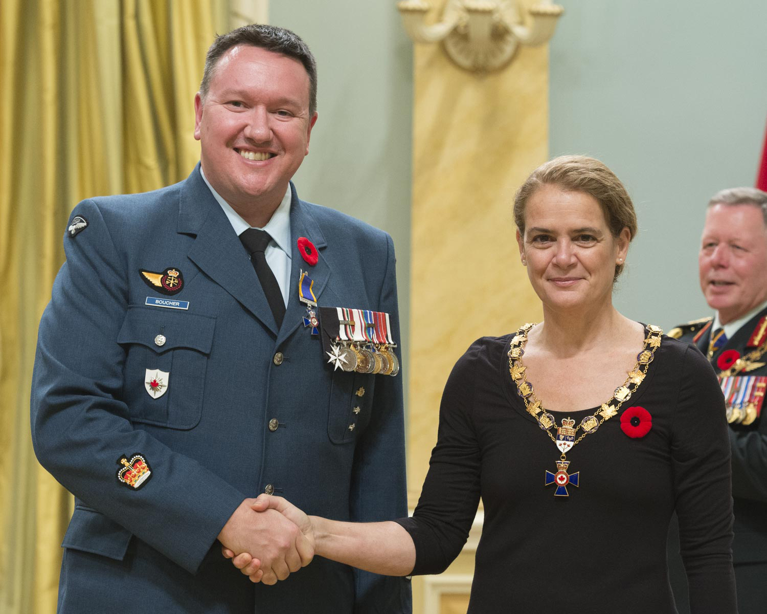 Her Excellency presented the Order of Military Merit at the Member level (M.M.M.) to Warrant Officer Marc Joseph Luc Boucher, M.M.M., C.D., from the Canadian Forces Intelligence Command Headquarters, in Ottawa, Ontario.
