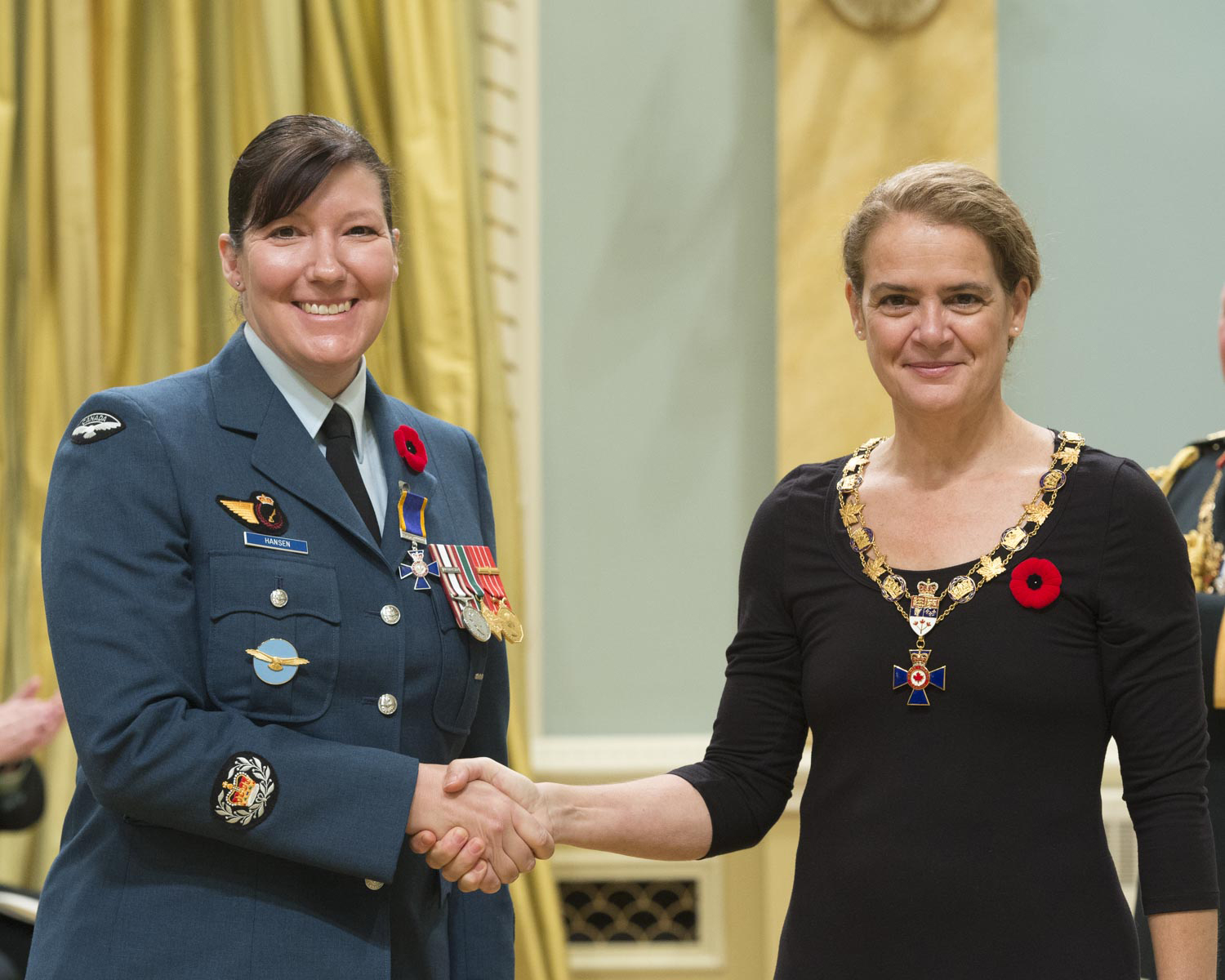 Her Excellency presented the Order of Military Merit at the Member level (M.M.M.) to Warrant Officer Renee Joyce Hansen, M.M.M., C.D., from the Office of Director General Military Careers, in Ottawa, Ontario.