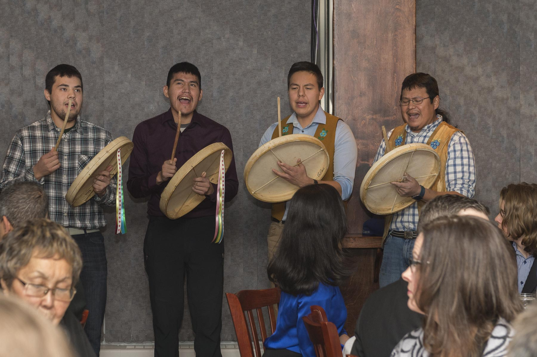 The Yellowknives Dene Drummers offered a prayer and performed a welcome song.