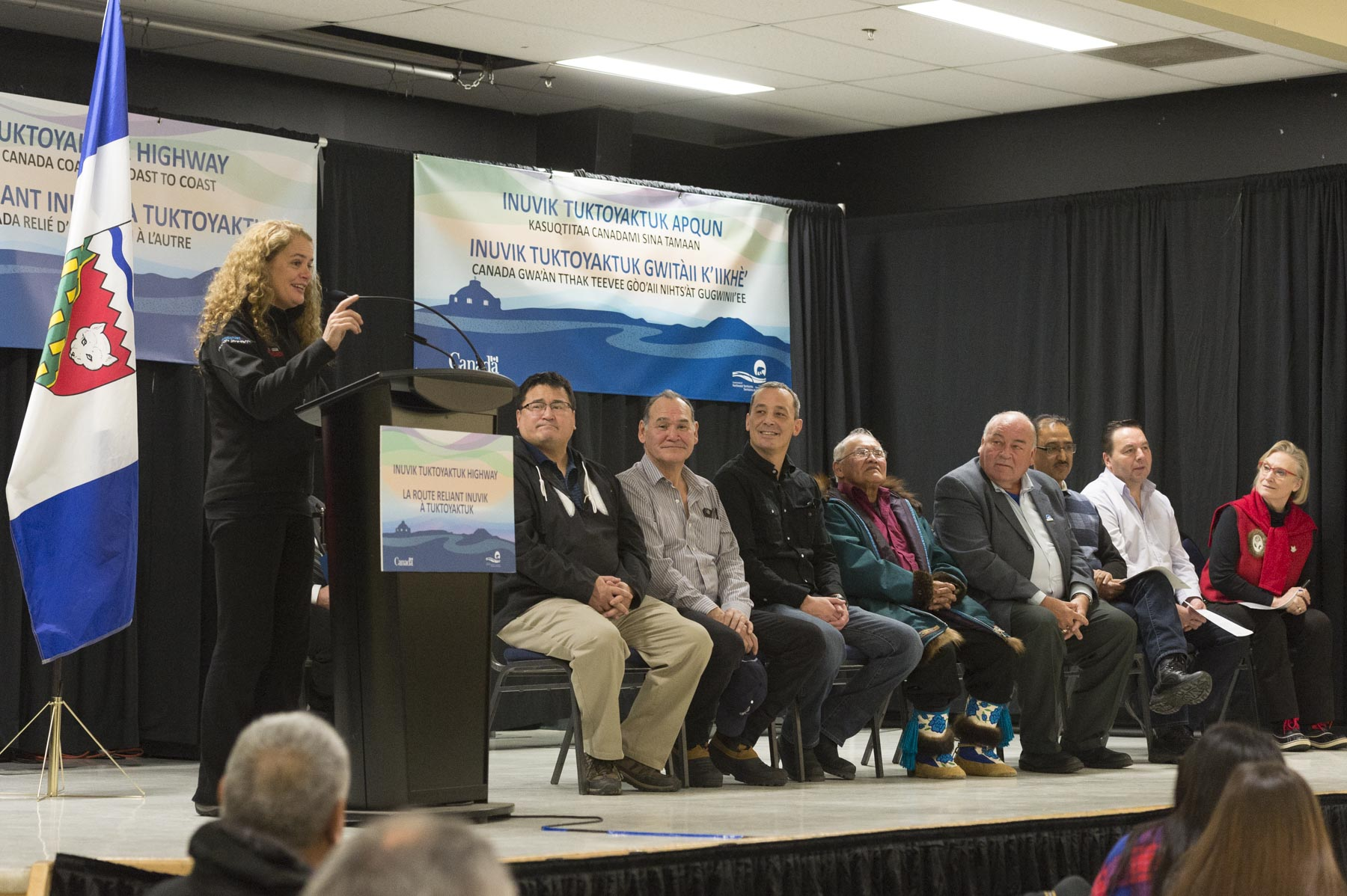 On Her Excellency's second day in the Northwest Territories, she traveled to Inuvik for the Opening Ceremonies of the Inuvik Tuktoyaktuk Highway.