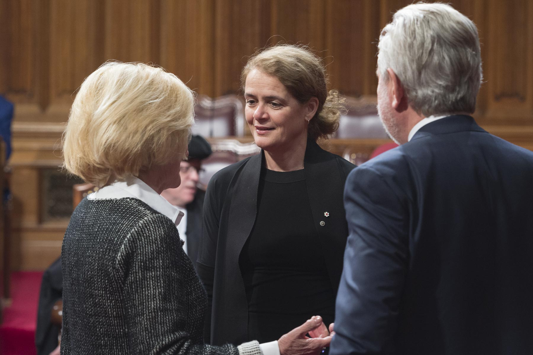Before the official portion of the ceremony, Her Excellency walked inside the Senate Chamber to meet with senators.