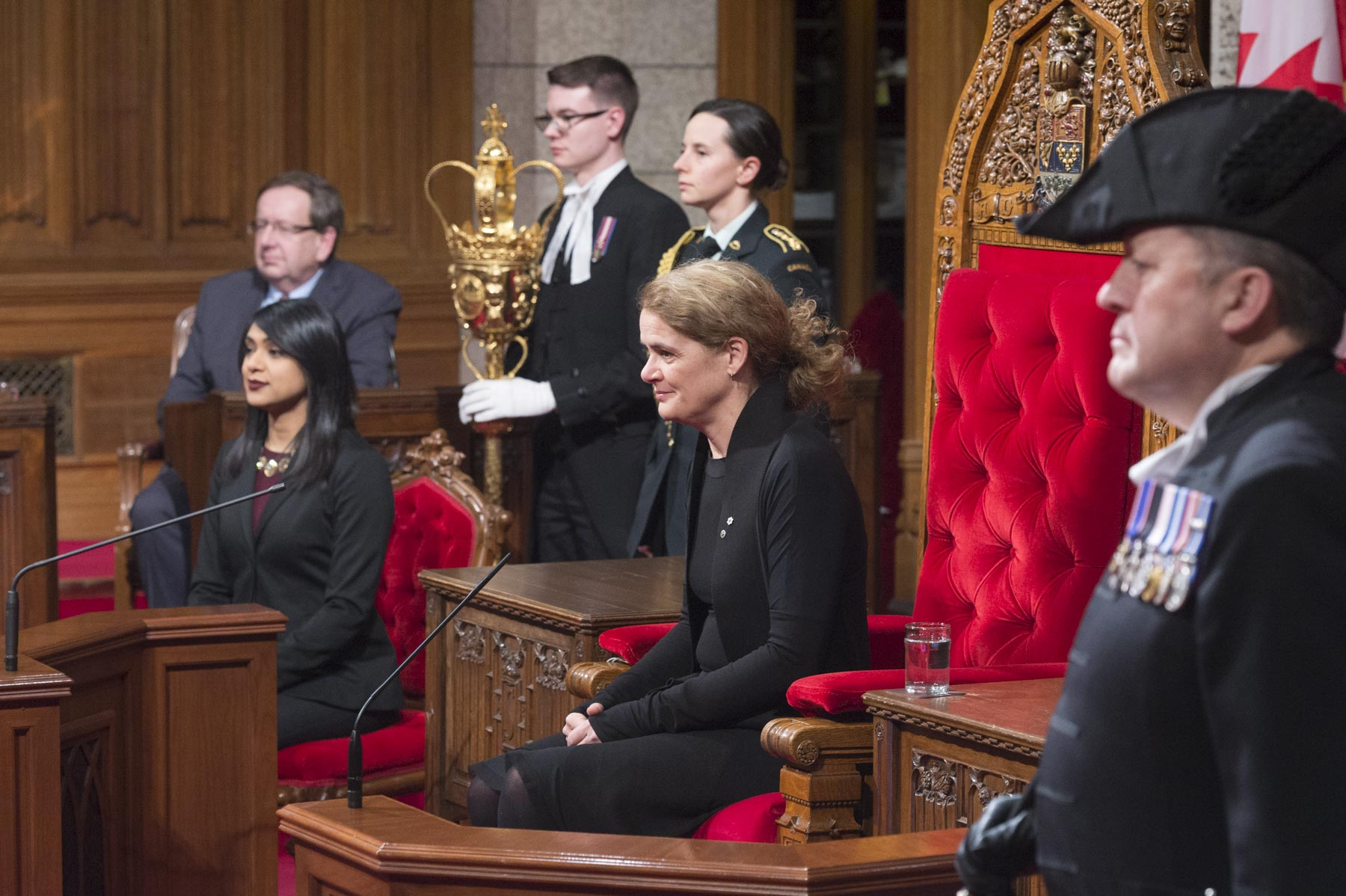 Royal Assent is granted by a representative of the Crown to approve a bill passed by the House of Commons and the Senate, making it into an Act of Parliament.