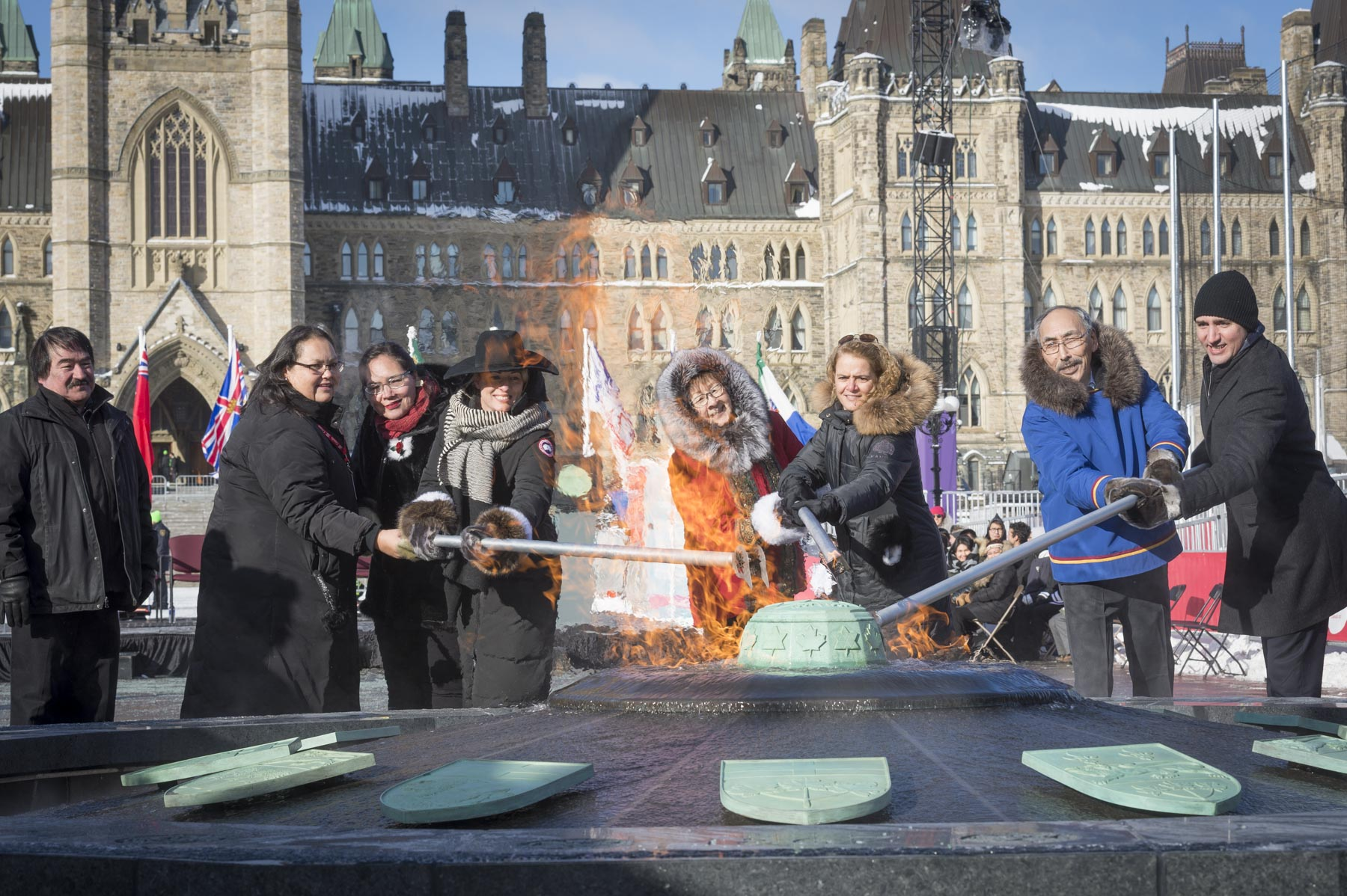 Afterwards, the Governor General participated in the lighting of the Centennial Flame. The Centennial Flame is part of a fountain that now has 13 sides with the inclusion of the official symbols of Nunavut.