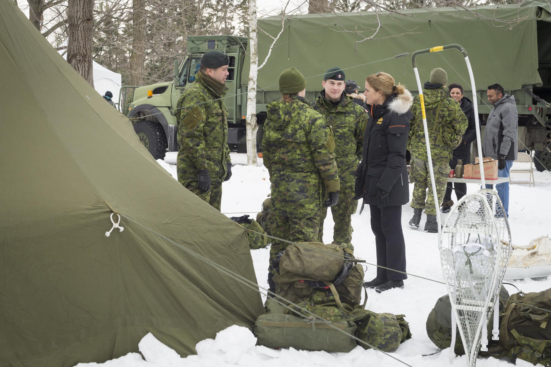 Members of the Governor General's Foot Guards also demonstrated how a military camp is set up for winter. Her Excellency Julie Payette is Commander-in-Chief of Canada.