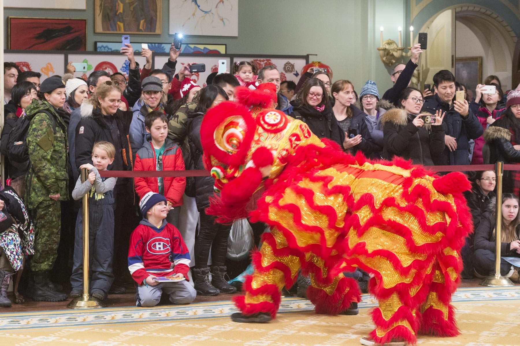 A traditional Chinese lion dance was performed inside the Ballroom of Rideau Hall. The activity was offered by the Embassy of the People's Republic of China.
