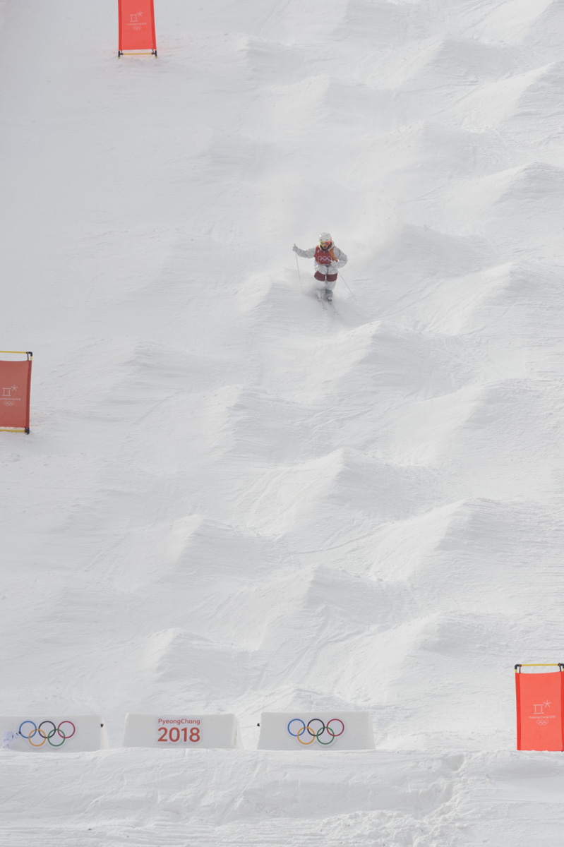 Before the Opening Ceremony, Mikaël Kingsbury performed earlier day in the men's freestyle skiing.