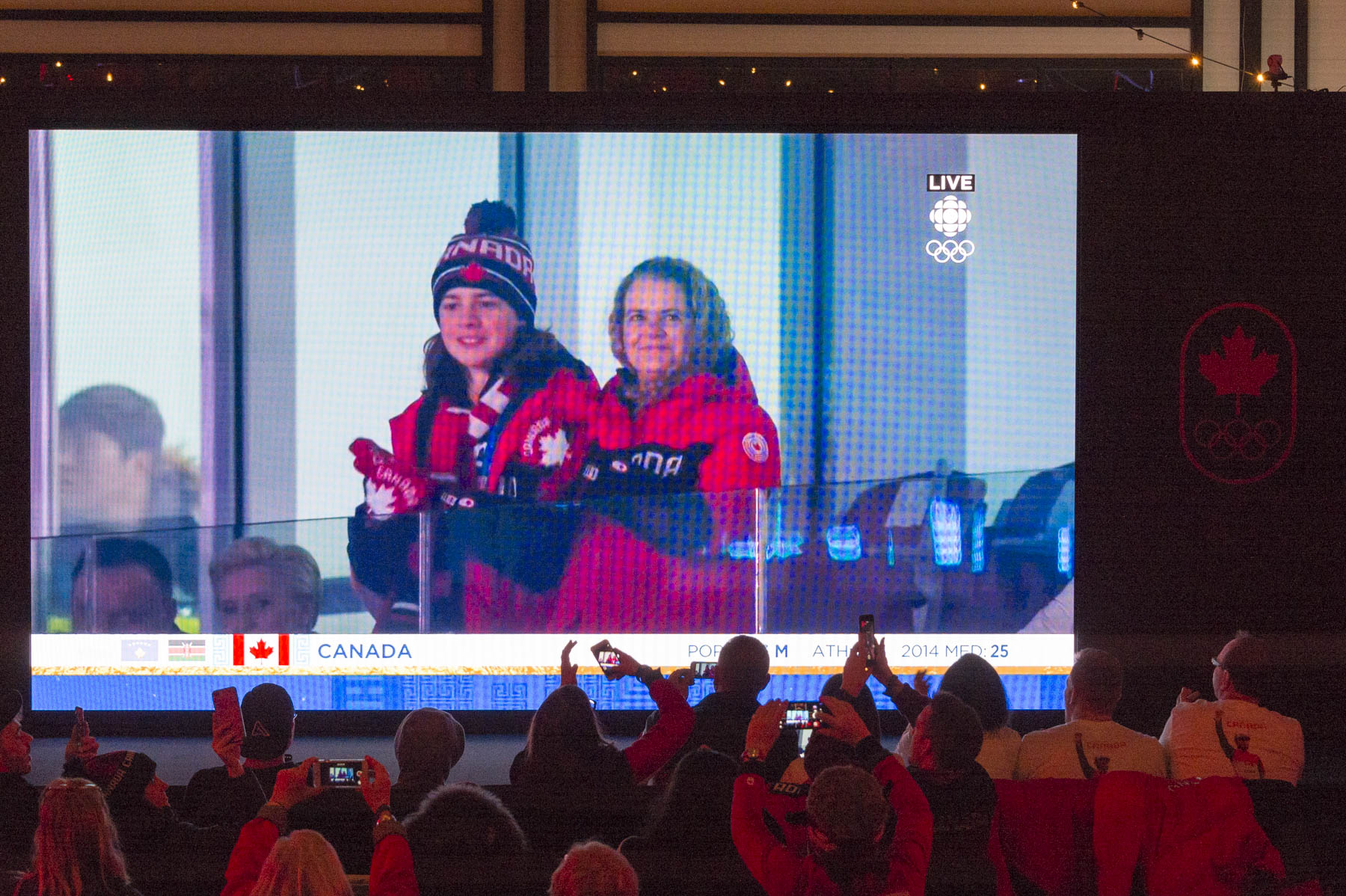 The Governor General joined by her son Laurier cheered proudly from the stands Team Canada members as they made their way into the Stadium.