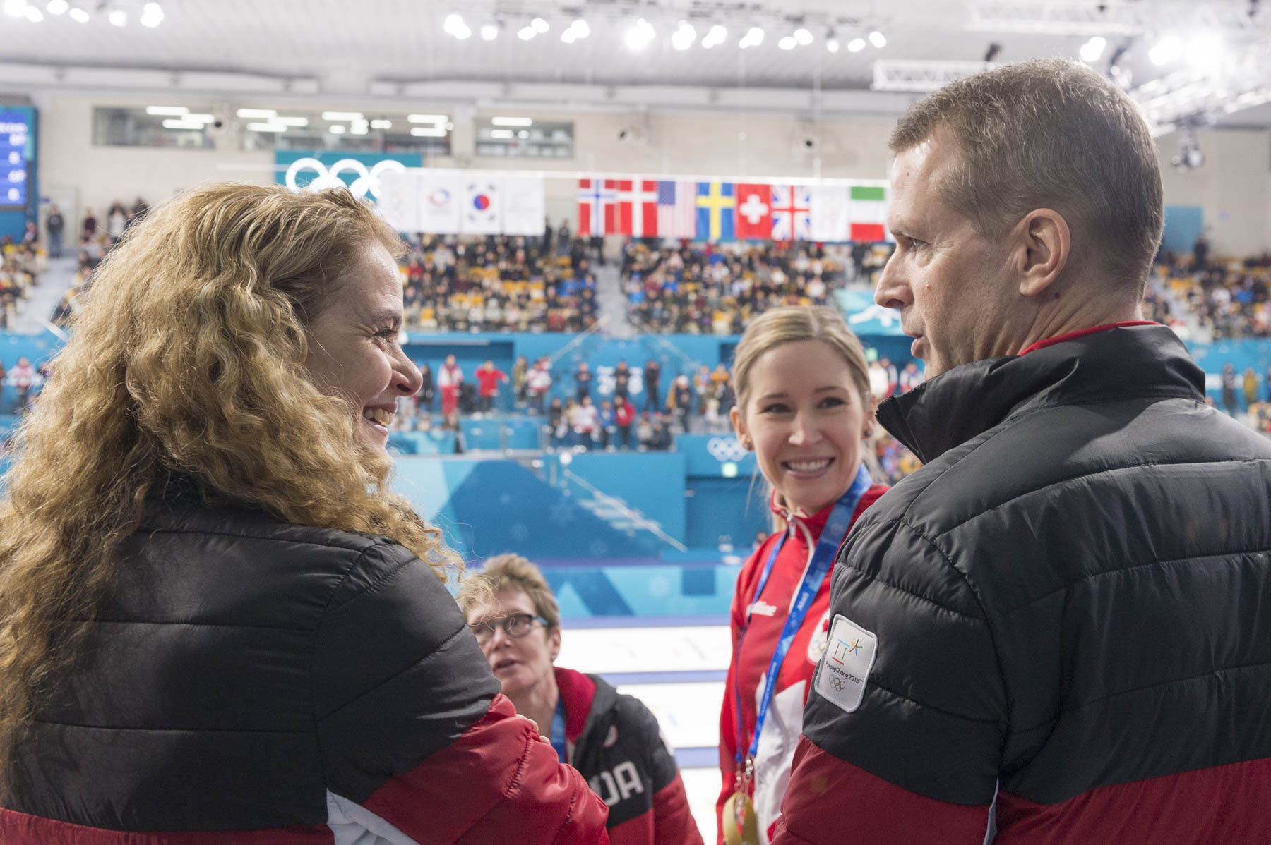Following the game, Her Excellency met with Team Canada athletes' Kaitlyn Lawes and John Morris.