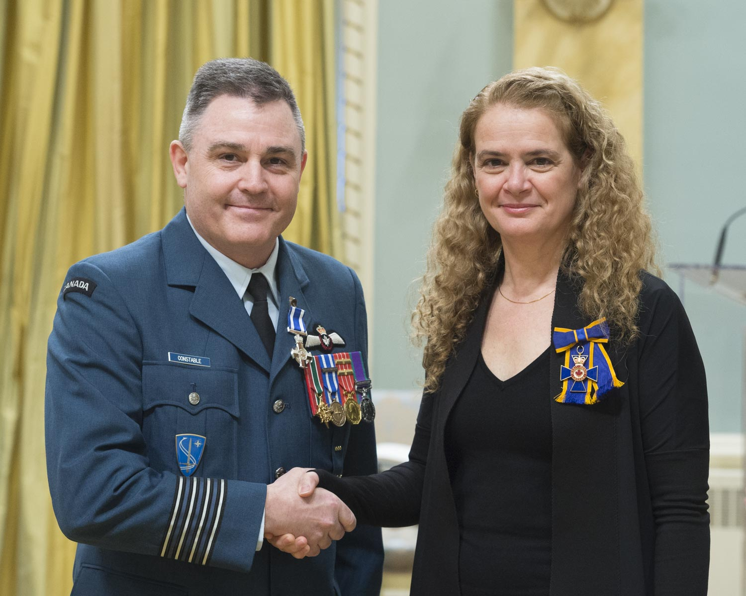 The Governor General presented a Meritorious Service Cross (Military Division) to Colonel Daniel Stewart Constable. From October 2014 to May 2015, Colonel Constable excelled as commander of the inaugural Joint Task Force-Iraq in Kuwait. He skilfully managed a high volume of critical issues while maintaining unwavering personal dedication to the mission. His exceptional leadership and professionalism, while overseeing the strategic integration of Canada into the United States-led coalition, enabled the task force to commence direct combat air operations in record time. Colonel Constable's distinctive accomplishments have brought great honour to the Canadian Armed Forces and to Canada.