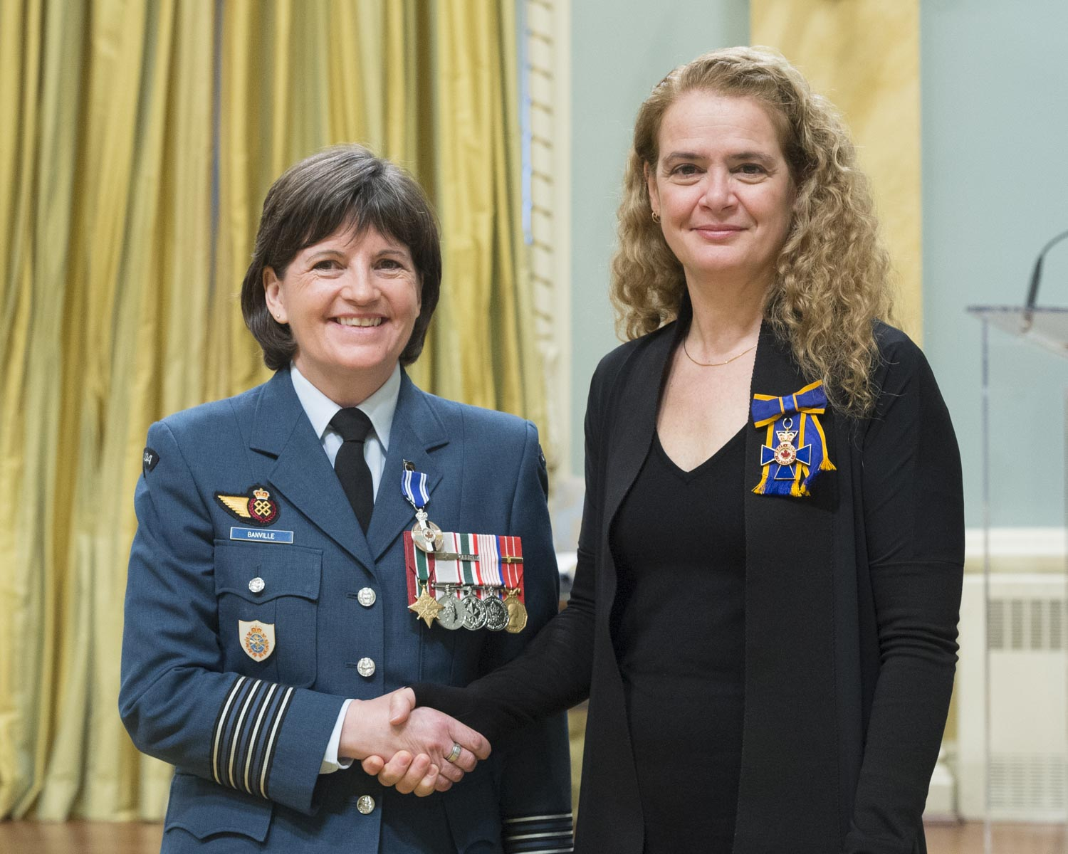 Colonel Angela Marie Banville received a Meritorious Service Medal (Military Division). From July 2016 to July 2017, Colonel Banville was deployed to Jerusalem as the deputy commander of Task Force Jerusalem and the director of Operational Support for the United States Security Coordinator. She led a multinational team that bolstered the capacity of the Palestinian Authority Security Force, enabling it to police the West Bank more effectively and safely. With steadfast leadership and professionalism, Colonel Banville cemented critical strategic alliances and advanced Canada's interests in the Middle East.