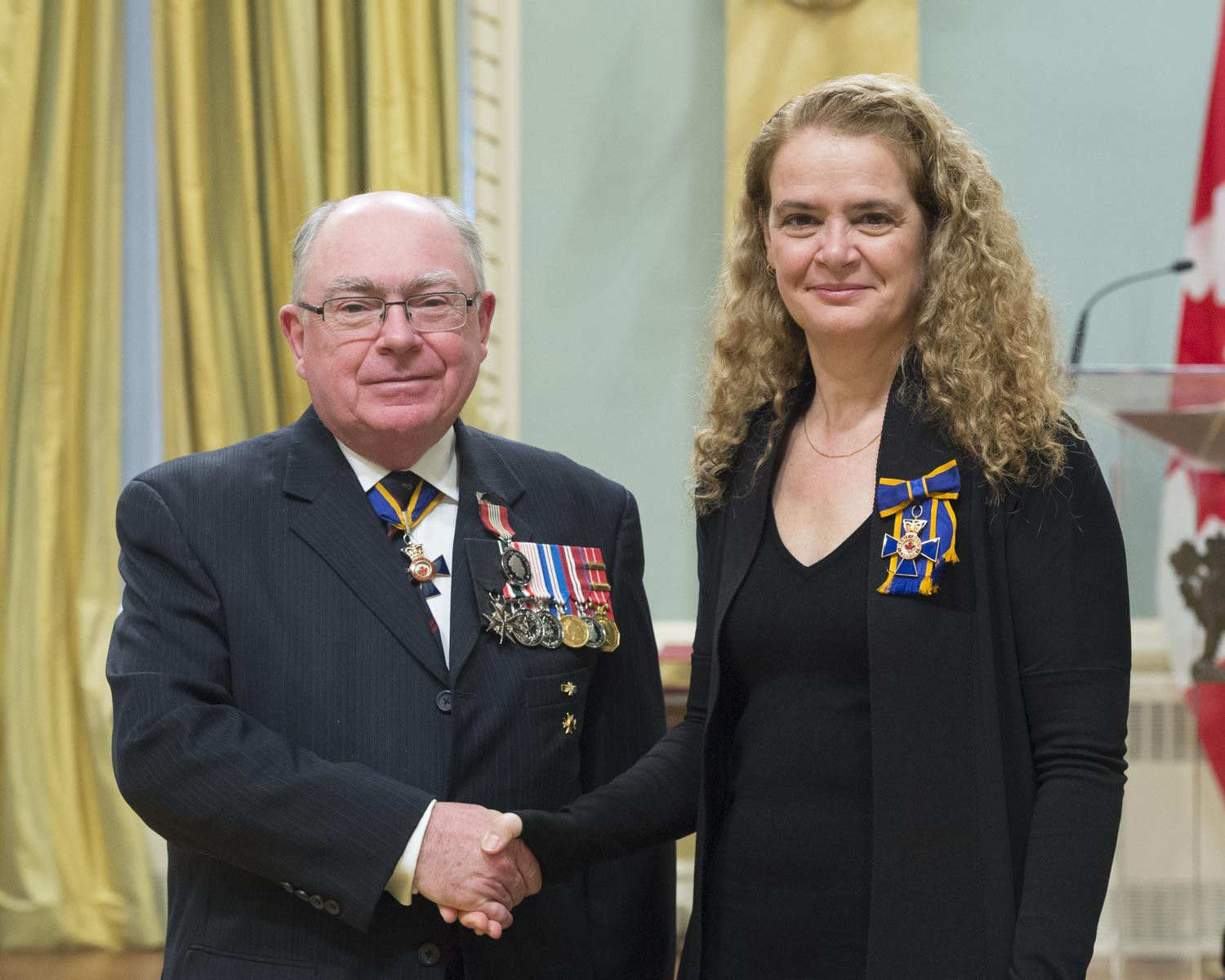 Vice-Admiral Ronald Buck (Retired) received the Sovereign's Medal for Volunteers. After retiring from a 39-year career in the Royal Canadian Navy, Ron Buck joined the Navy League of Canada in 2009 and committed himself to improving its governance and youth programs. In 2013, he joined the board of directors of the Perley and Rideau Veterans' Health Centre to support veterans in the community and to address the unique health care issues of seniors.