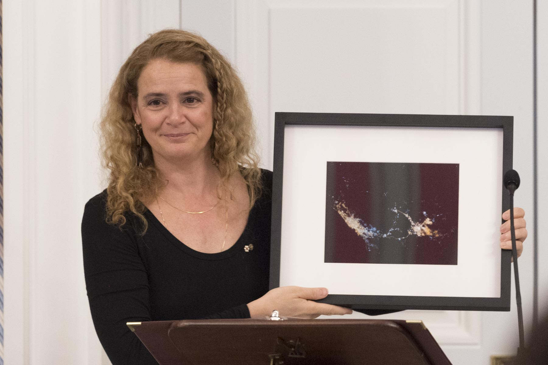 To thank His Highness for his great involvment with Canada, the Governor General presented him with a photo of Djeddah and Mecca taken from space.