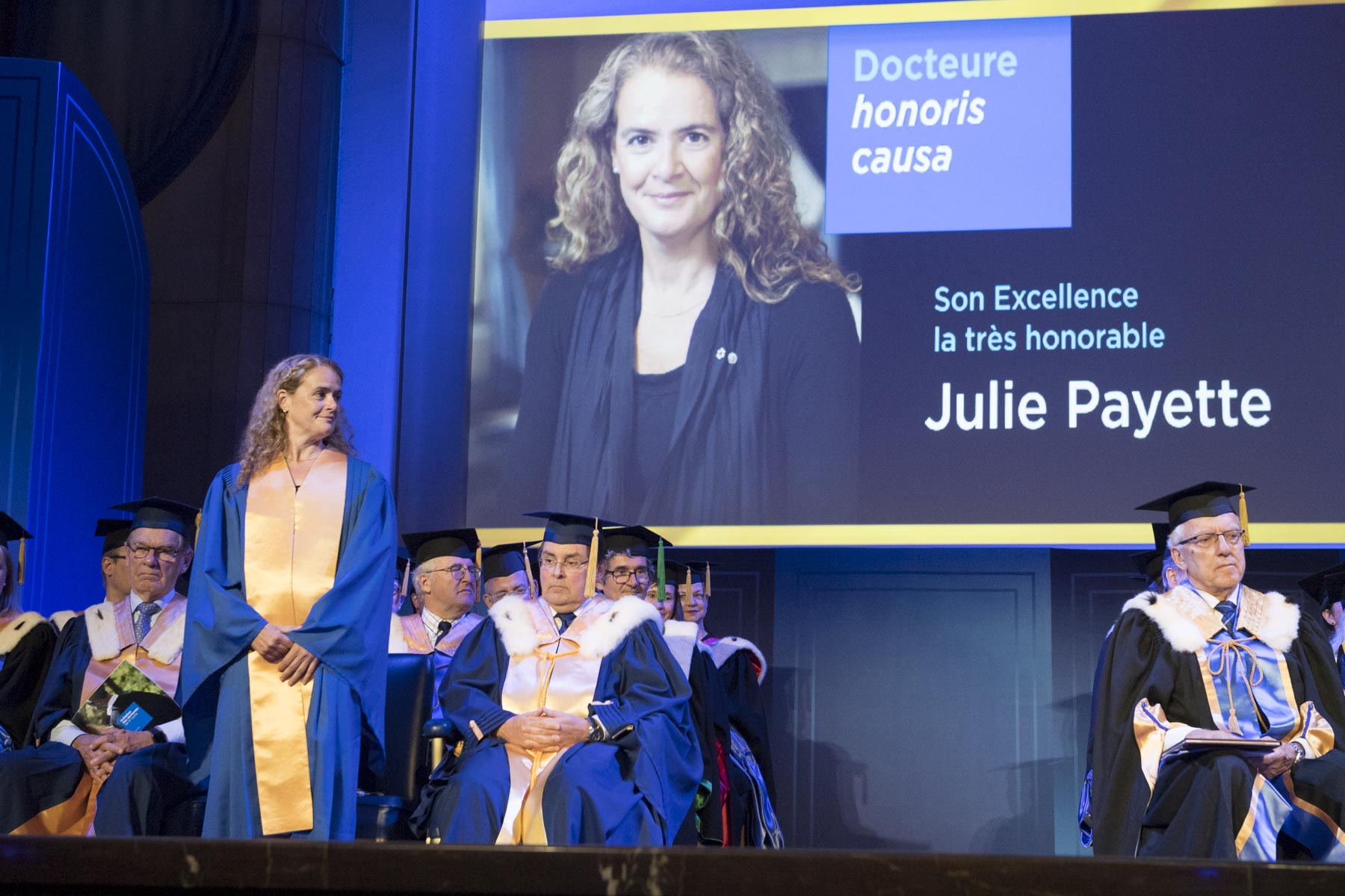 The Governor General received an honorary doctorate from the Université de Montréal during a Ph.D. convocation ceremony in the Ernest-Cormier amphitheatre.