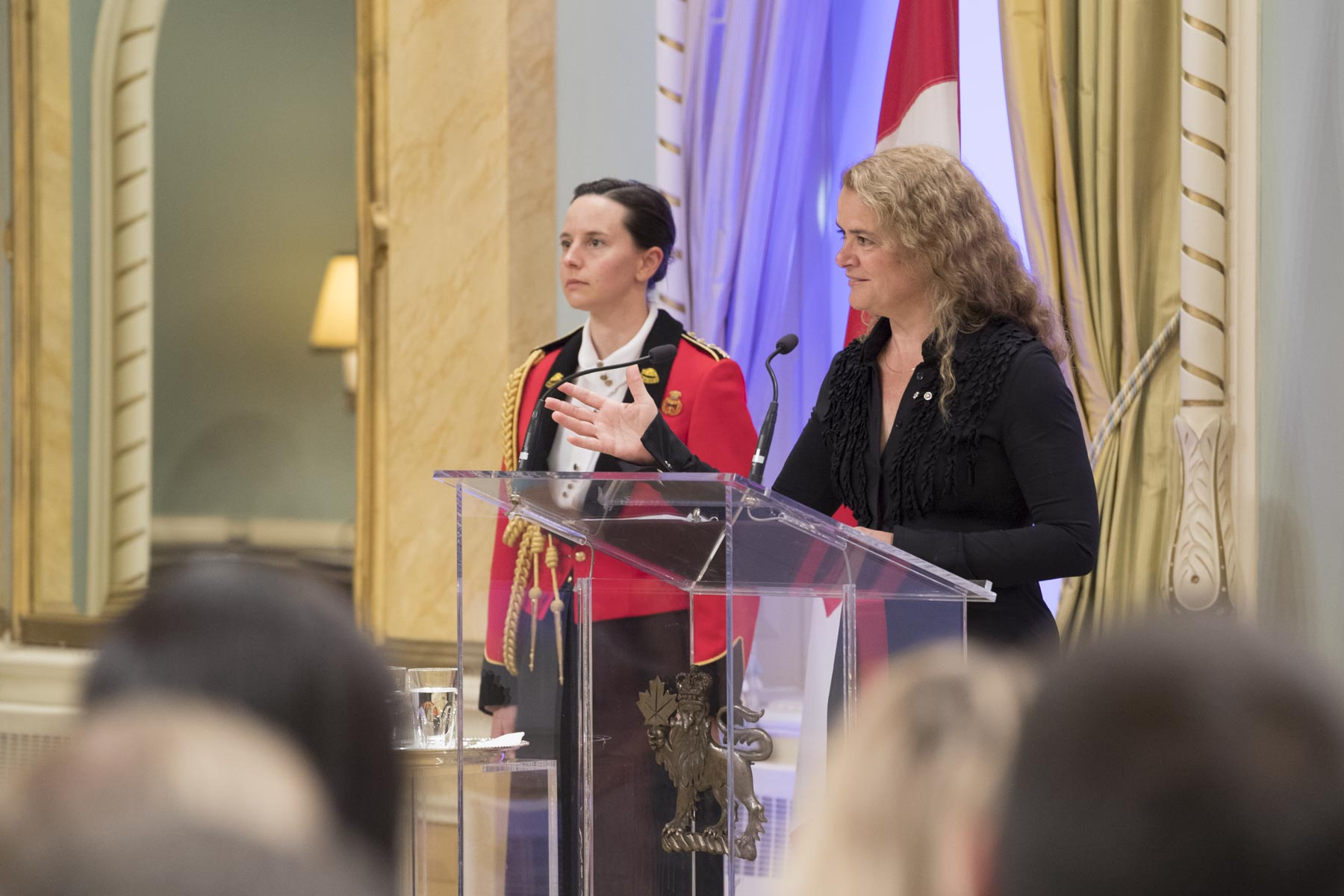 "The Governor General hosted the presentation ceremony of the Michener Award for outstanding public service in journalism, and the Michener-Deacon Fellowships. The event took place on June 12, 2018. During the evening, Her Excellency delivered a speech: ""The role of the press and its independence remains fundamental in the building of our society and the protection of our democracy."""