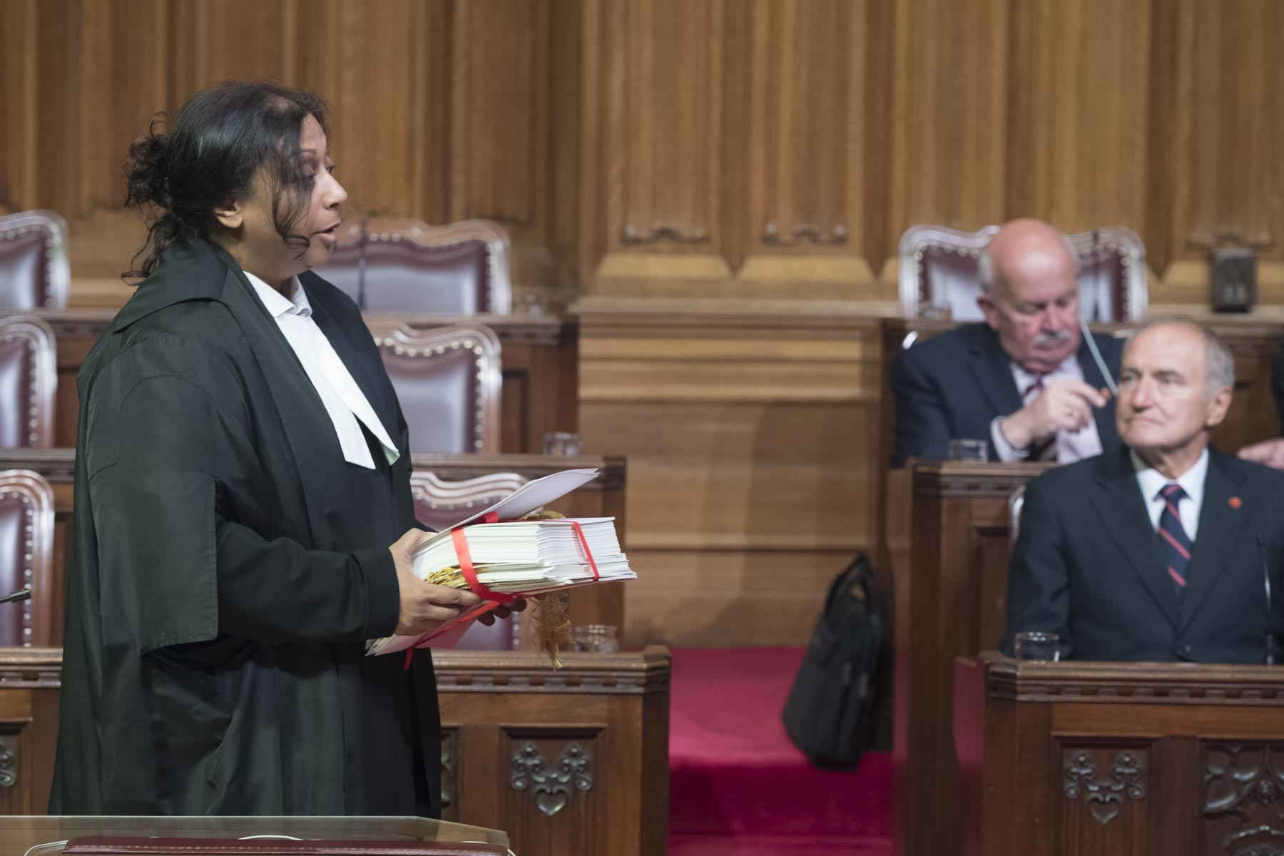 The bills were read aloud before being officially granted by the Governor General.