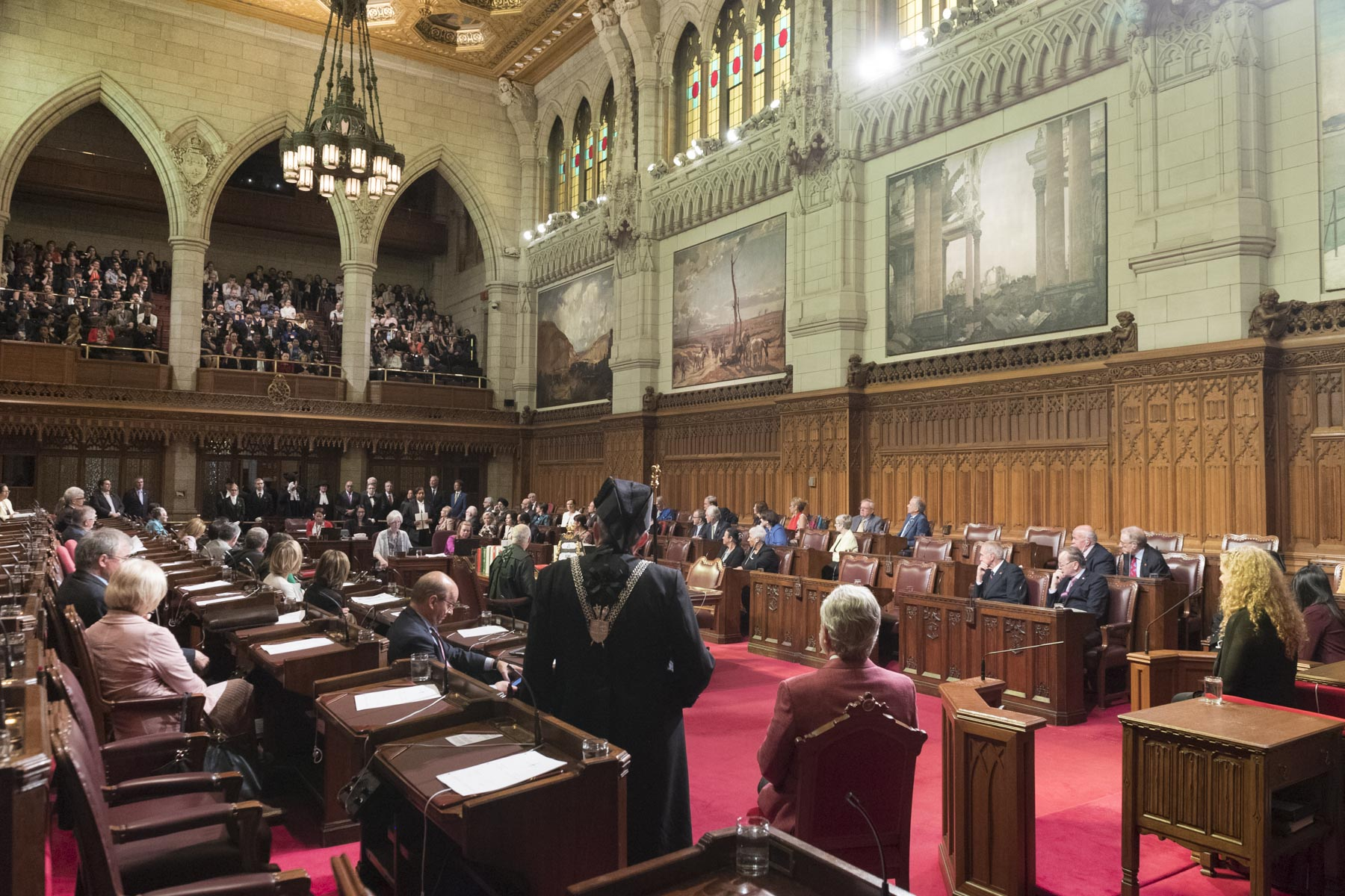 The ceremony took place inside the Senate Chamber on Parliament Hill, in Ottawa.