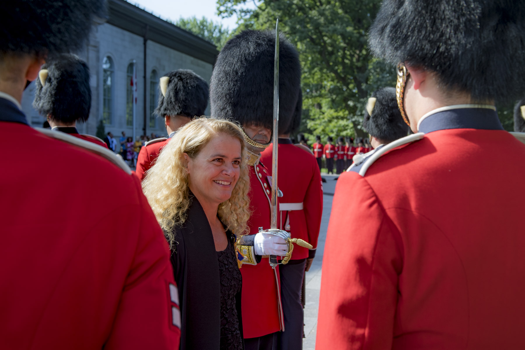 During the inspection, she spoke to members of the Ceremonial Guard who have, among their other duties, stood sentry at Rideau Hall through out the summer.