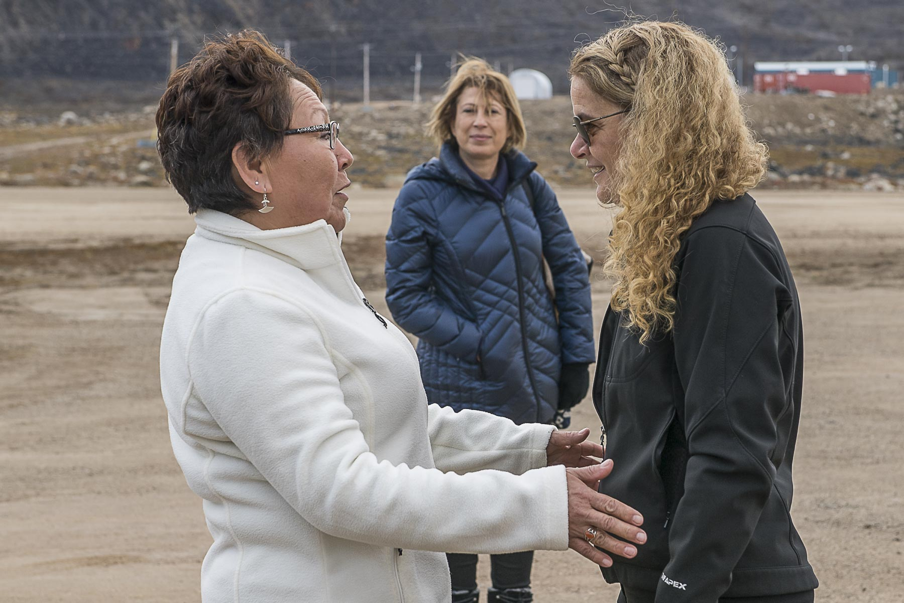 Upon arrival in Qikiqtarjuaq, Her Excellency was greeted by Her Worship Mary Killiktee, Mayor of Qikiqtarjuaq.