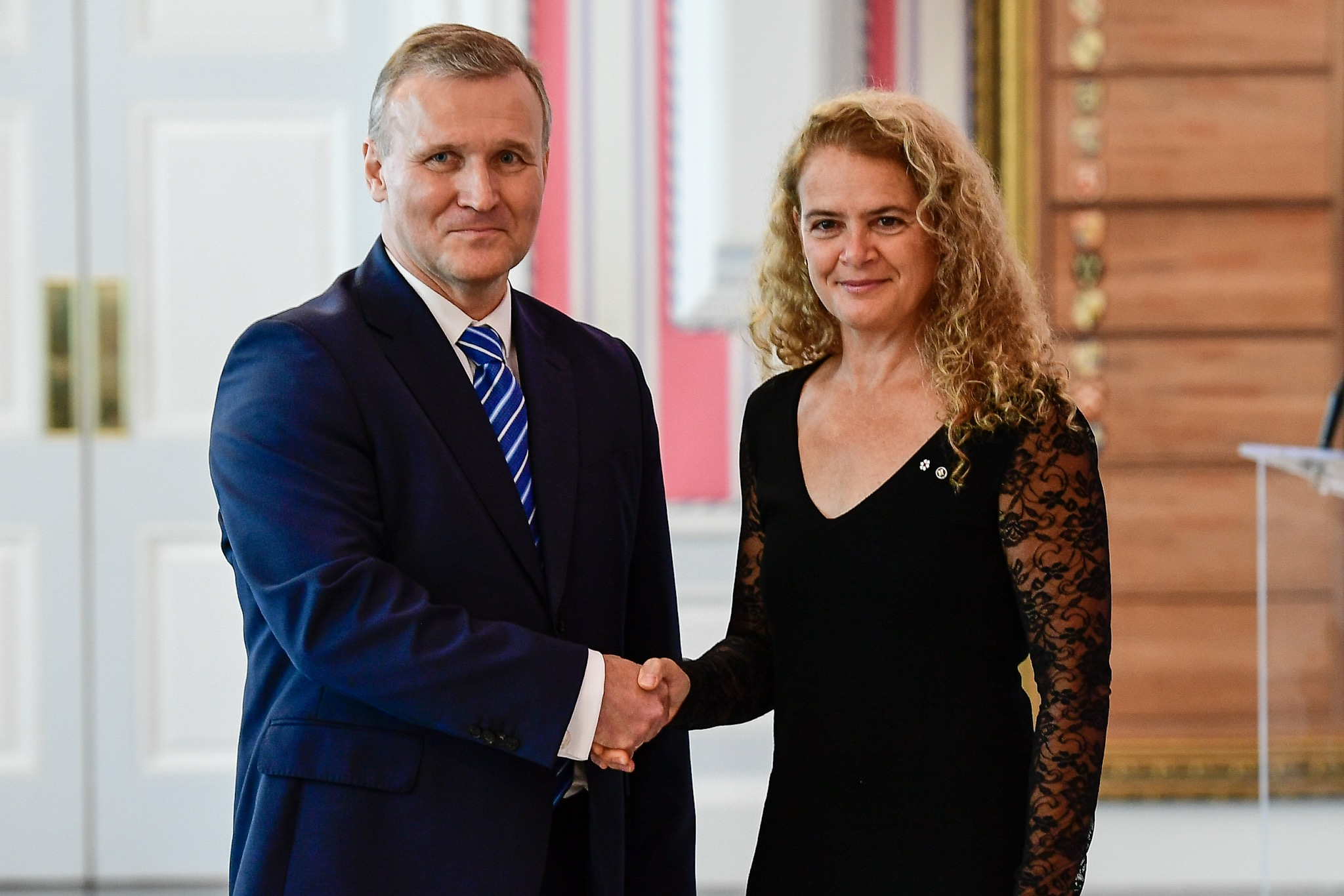 The governor general then received the letters of credence of His Excellency Toomas Lukk, Ambassador of the Republic of Estonia.