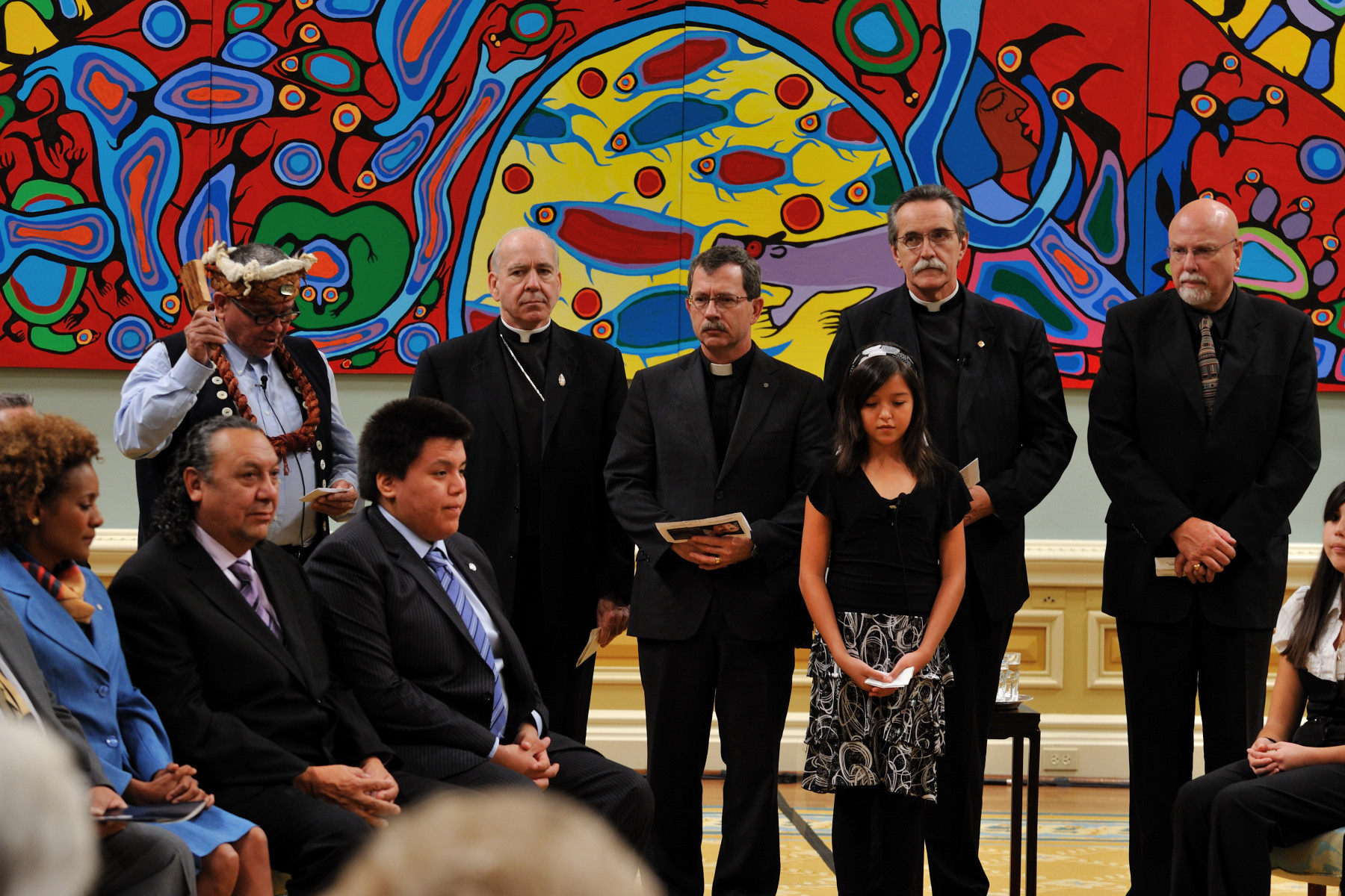 Chief Robert Joseph (survivor), Most Reverend Gerard Pettipas, Reverend Harvey Self, Archdeacon Michael Pollesel, Reverend James V. Scott, and Jadyn Toulouse (Sagamok First Nation)recited a prayer.