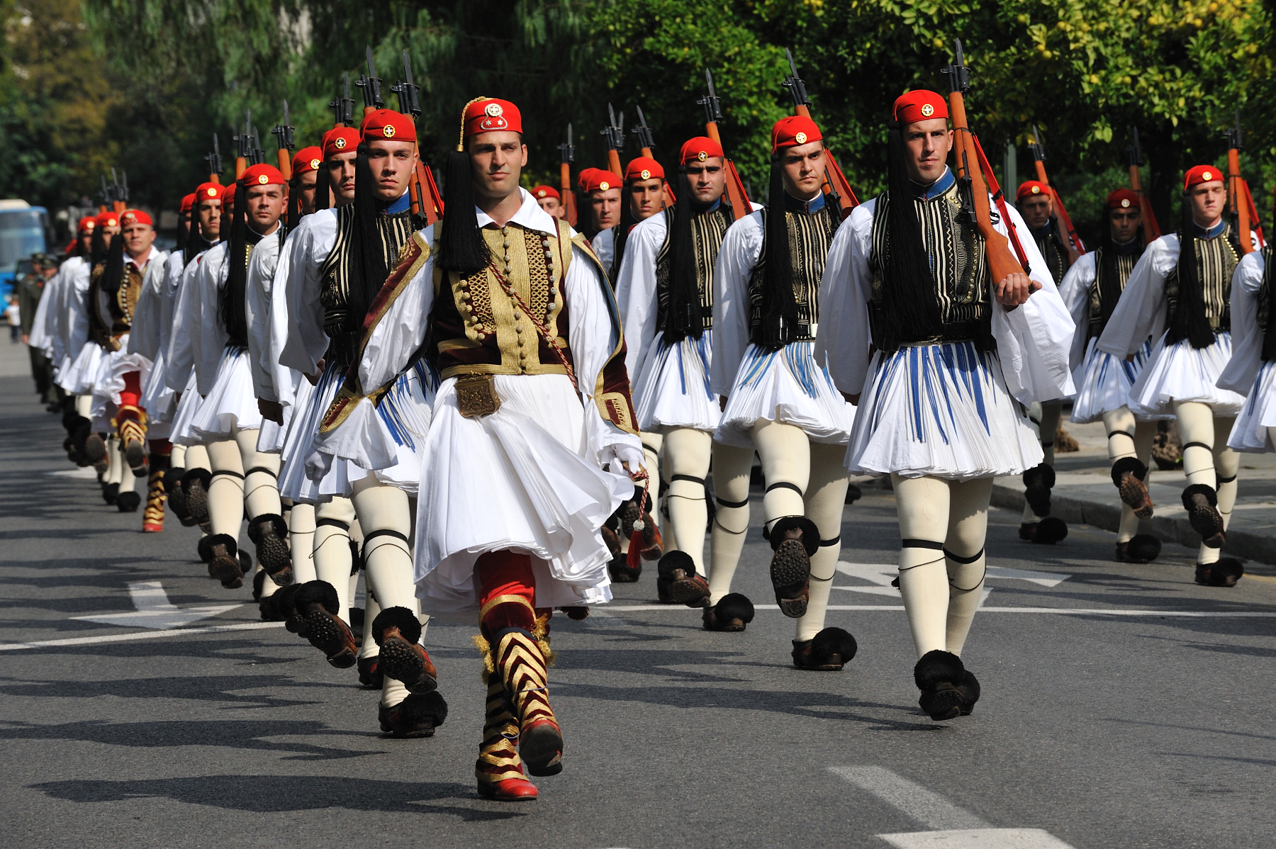 The official welcome was held at the Presidential Palace, which is the official residence of the president of the Hellenic Republic. It previously served as the Royal Palace until the abolition of the monarchy by referendum in 1974.
