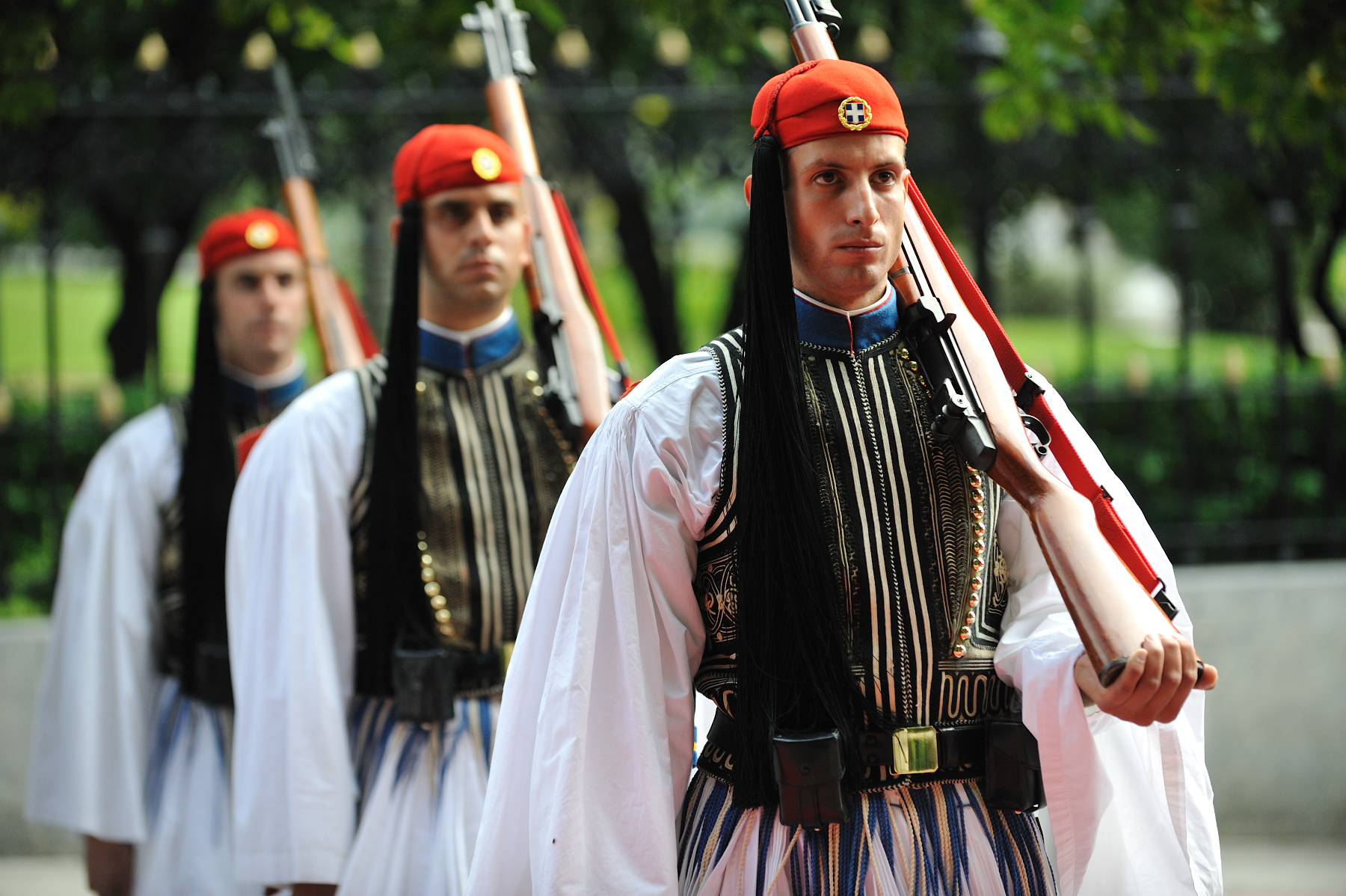 The Guard of Honour is composed of Greek Evzones. They wear their uniform with pride as a mark of respect to national tradition and in tribute to the heroes of the nation's fight for freedom and independence.
