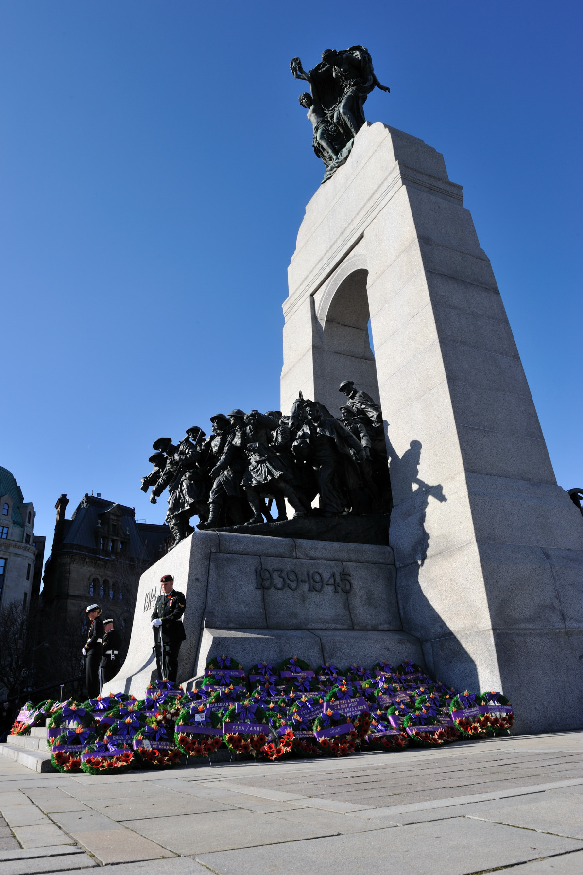 Dozens of diplomats laid wreaths along the sides of the monument.