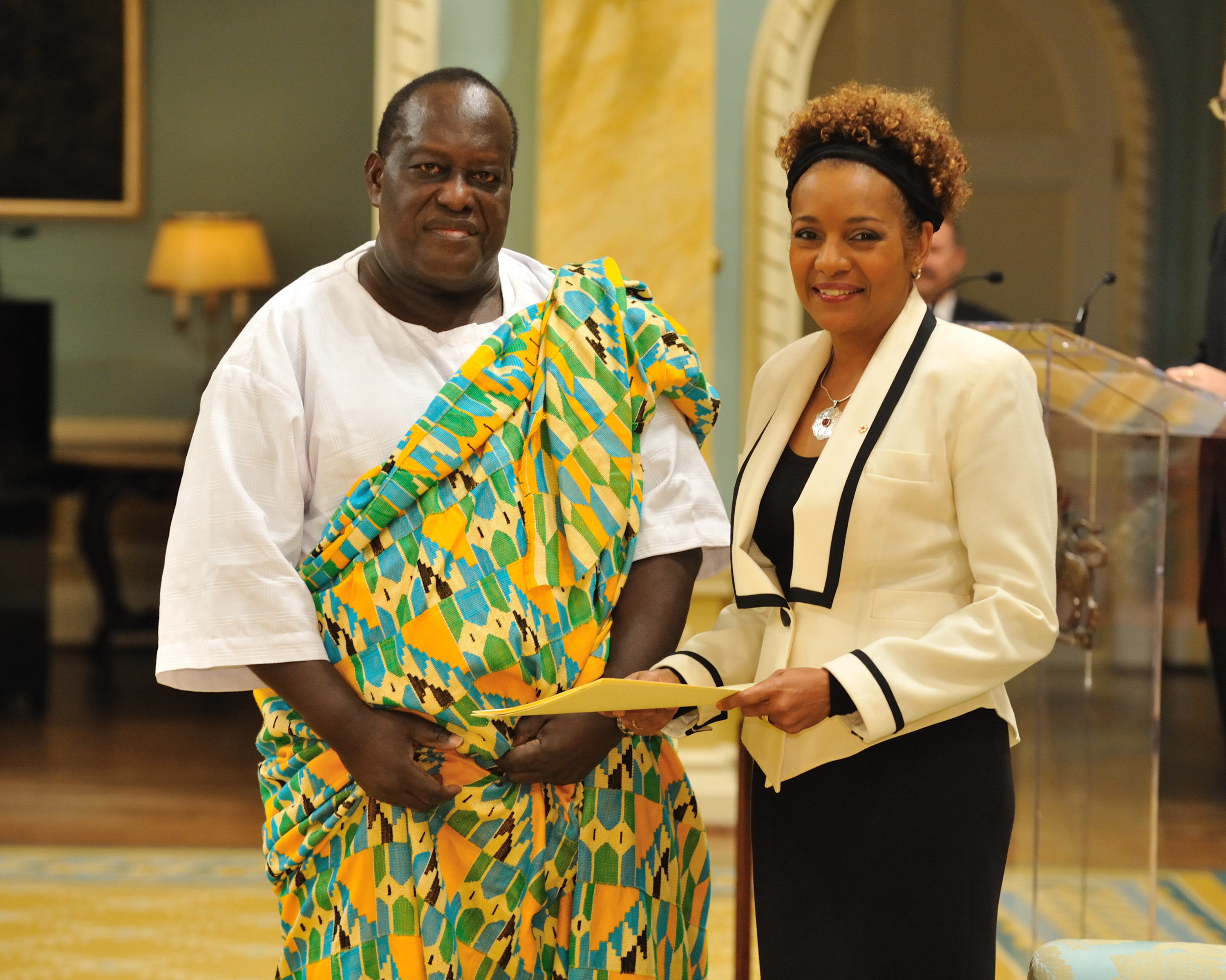 The Governor General received the credentials of His Excellency Richard Benjamin Turkson, High Commissioner of the Republic of Ghana.