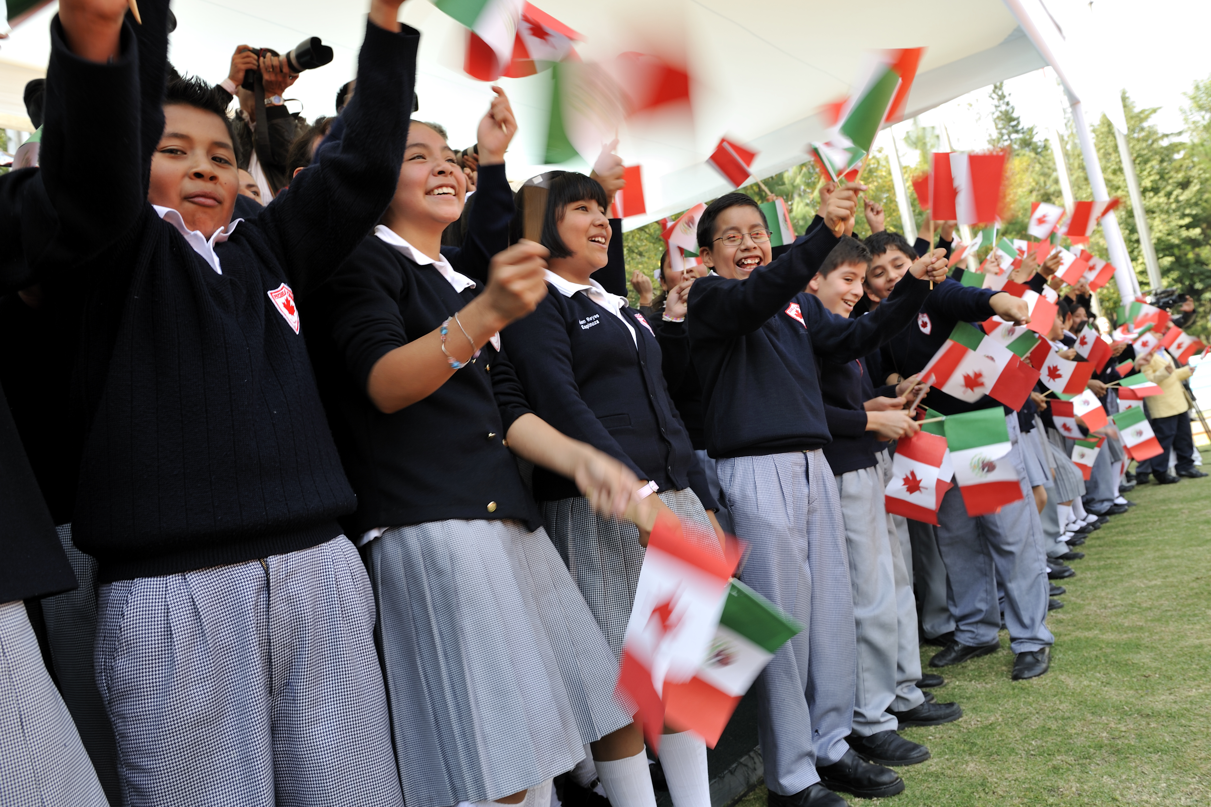 Many Mexican children with flags from both countries attended the event.