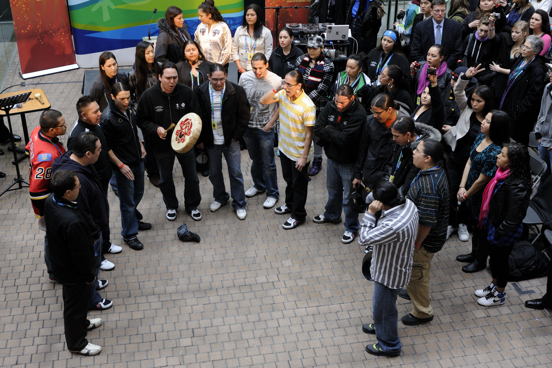 Indigenous Youth sang for the participants.