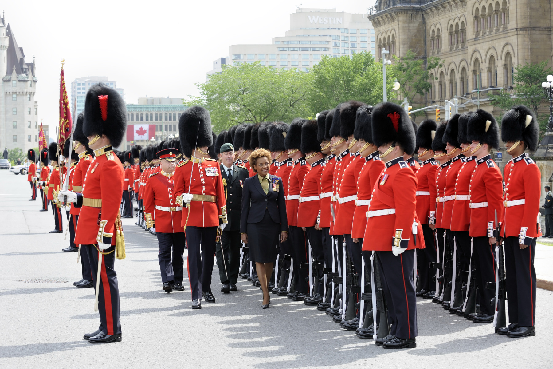 Her Excellency the Right Honourable Michaëlle Jean, Governor General and Commander-in-Chief of Canada, invited the public to join her for the annual Inspection of the Ceremonial Guard, on June 22, 2010, on Parliament Hill.