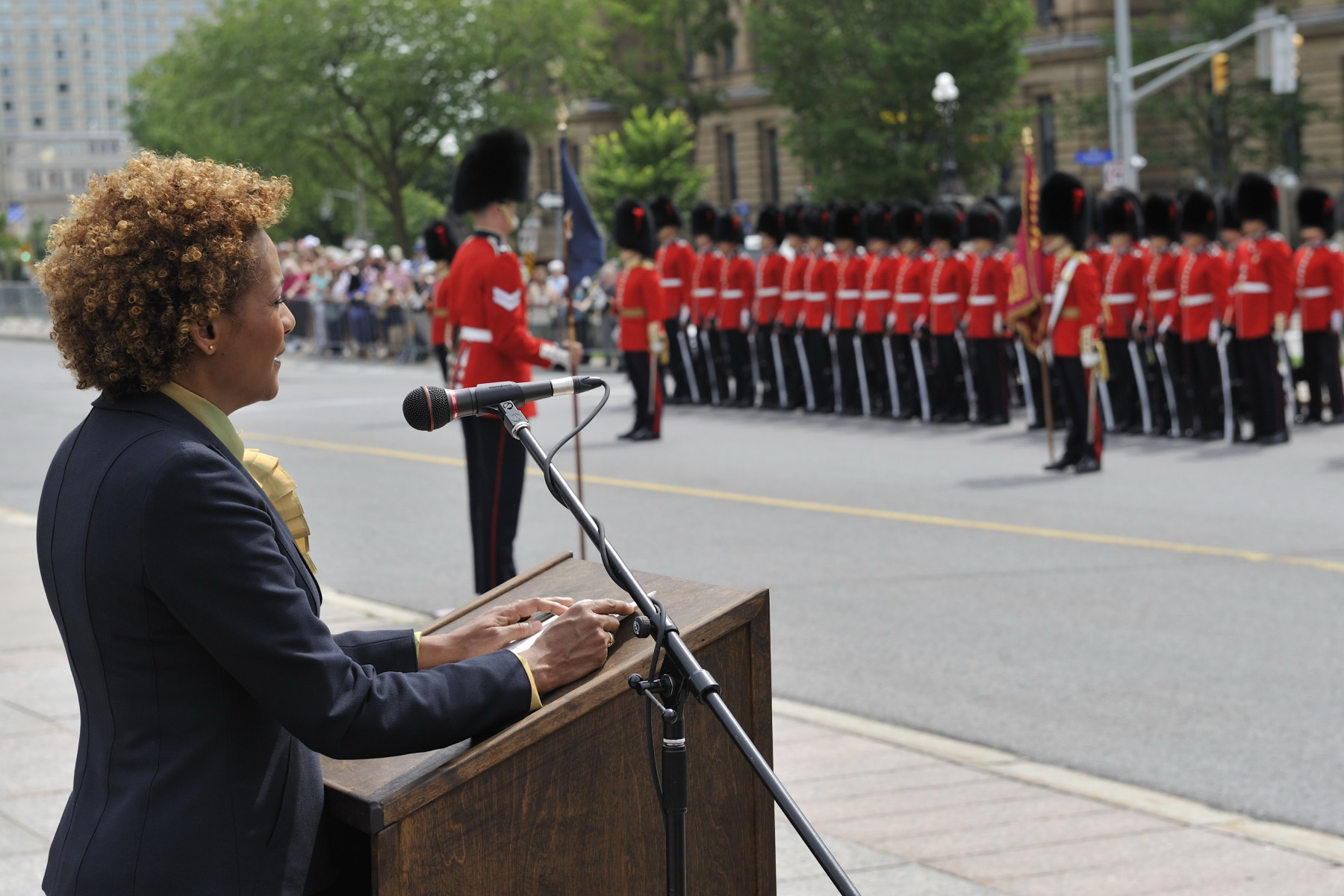 "Following the inspection, the Governor General addressed the Guard. "" You never cease to move me and impress me by your rigour, your precision and your impeccable appearance. ""As commander-in-chief of the Canadian Forces, I want you to know that you do me great honour."""