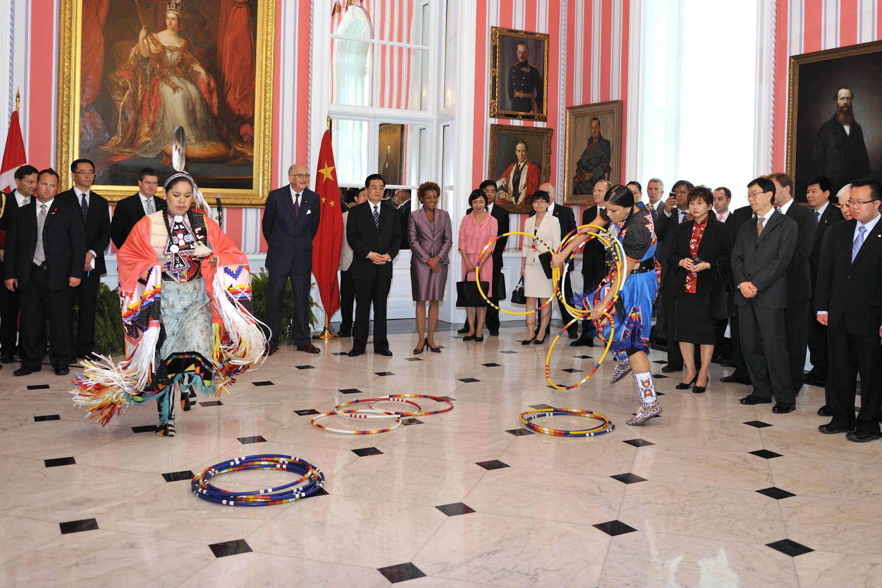 Guests attended a reception with traditional hoop dancers.