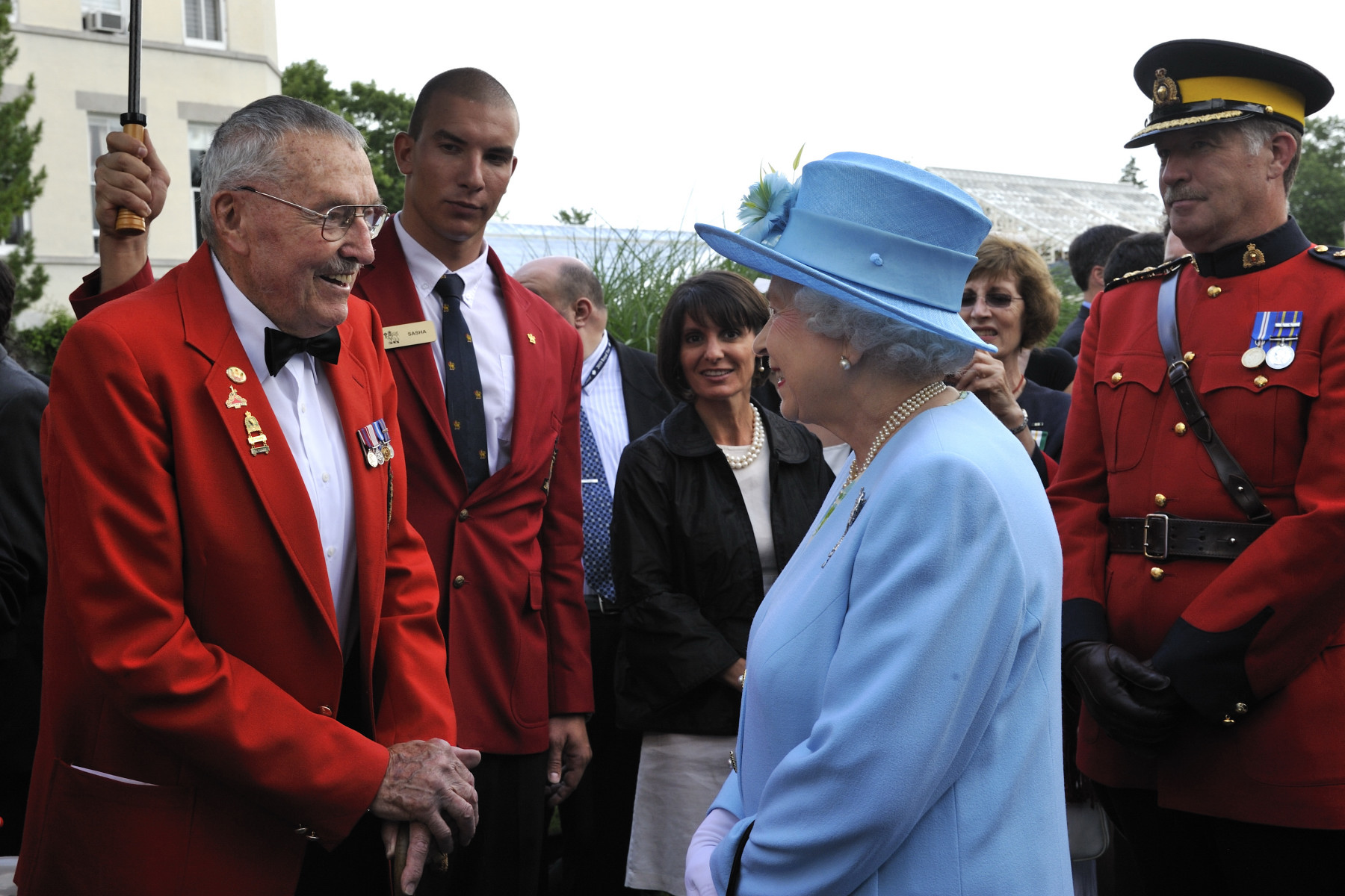 Her Majesty was introduced to a veteran, just before she ended her walkabout in the garden.