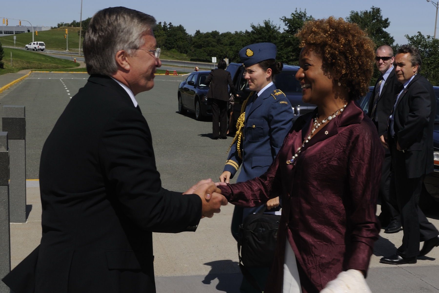 The Governor General was welcomed to Confederation Building, in St. John's, by Premier Danny Williams.