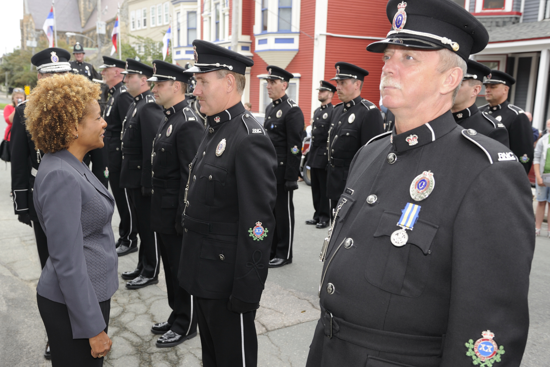 During the inspection, Her Excellency took the time to speak to a few of the officers.