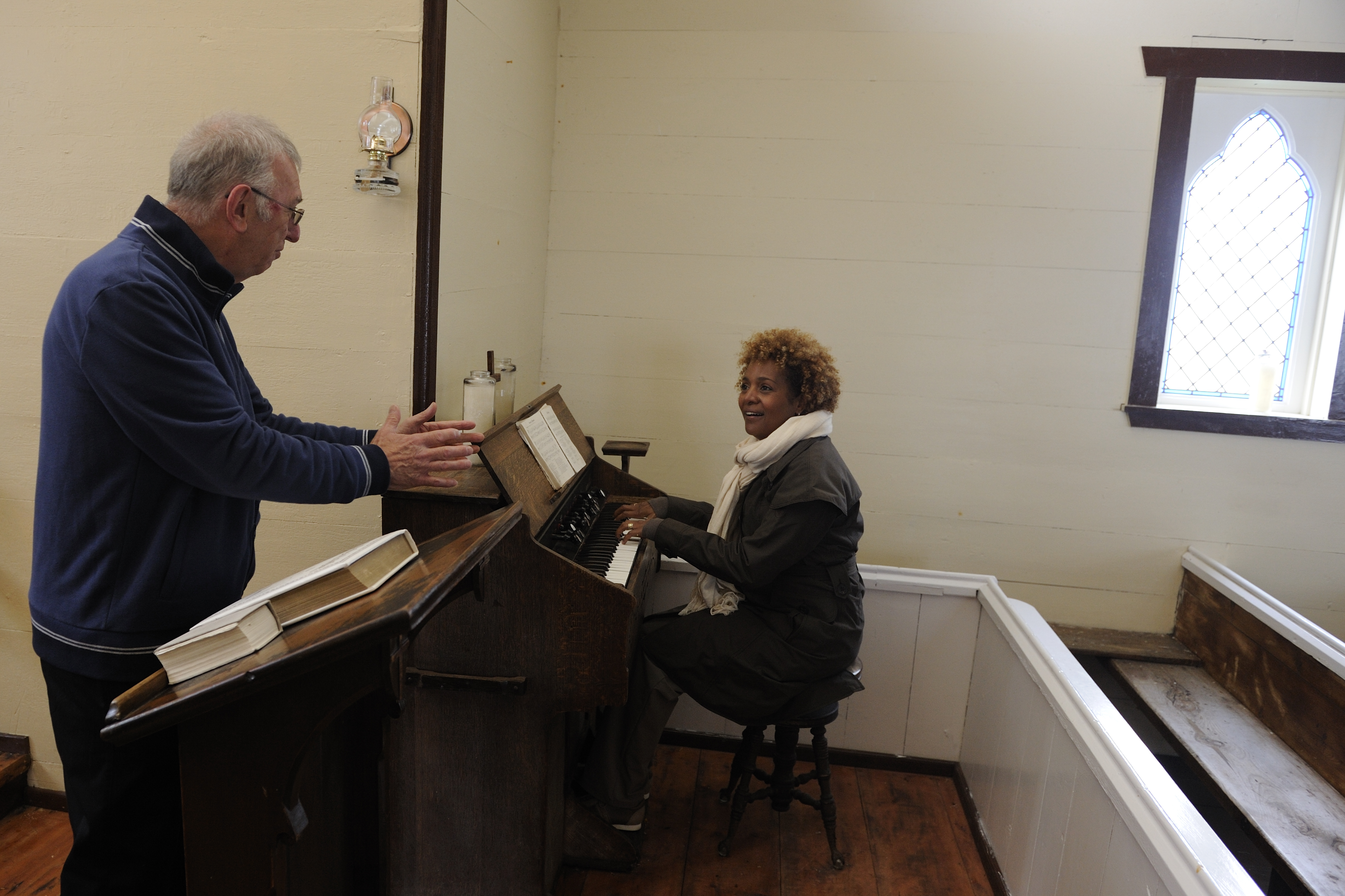 Her Excellency played a little music when she visited Battle Harbour's church.